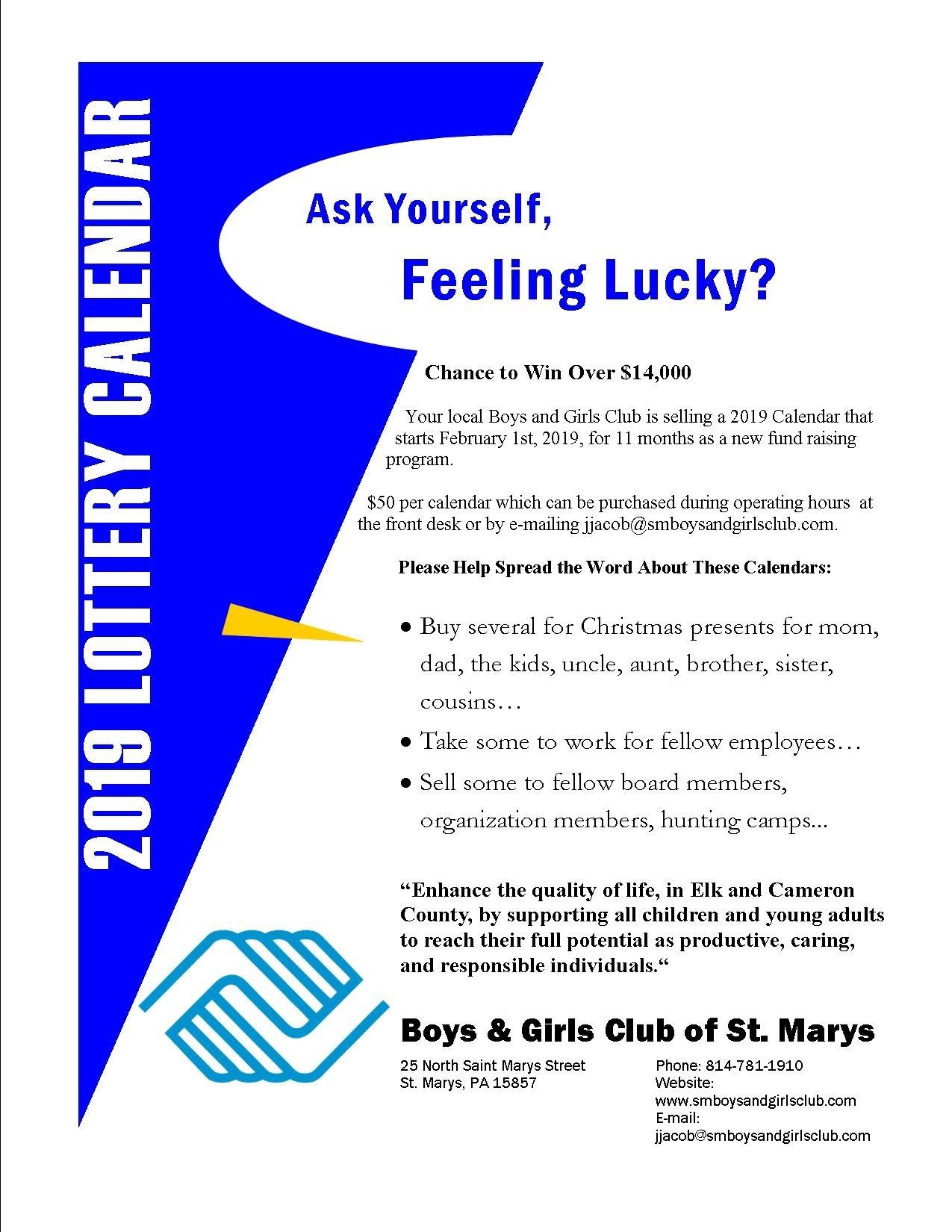 2019 Lottery Calendar Fundraiser – Boys & Girls Club Of St