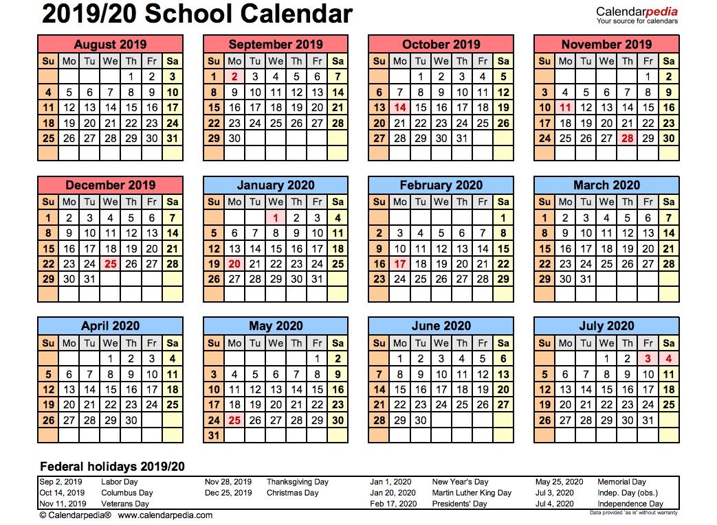 2019 School Calendar Printable | Academic 2019/2020