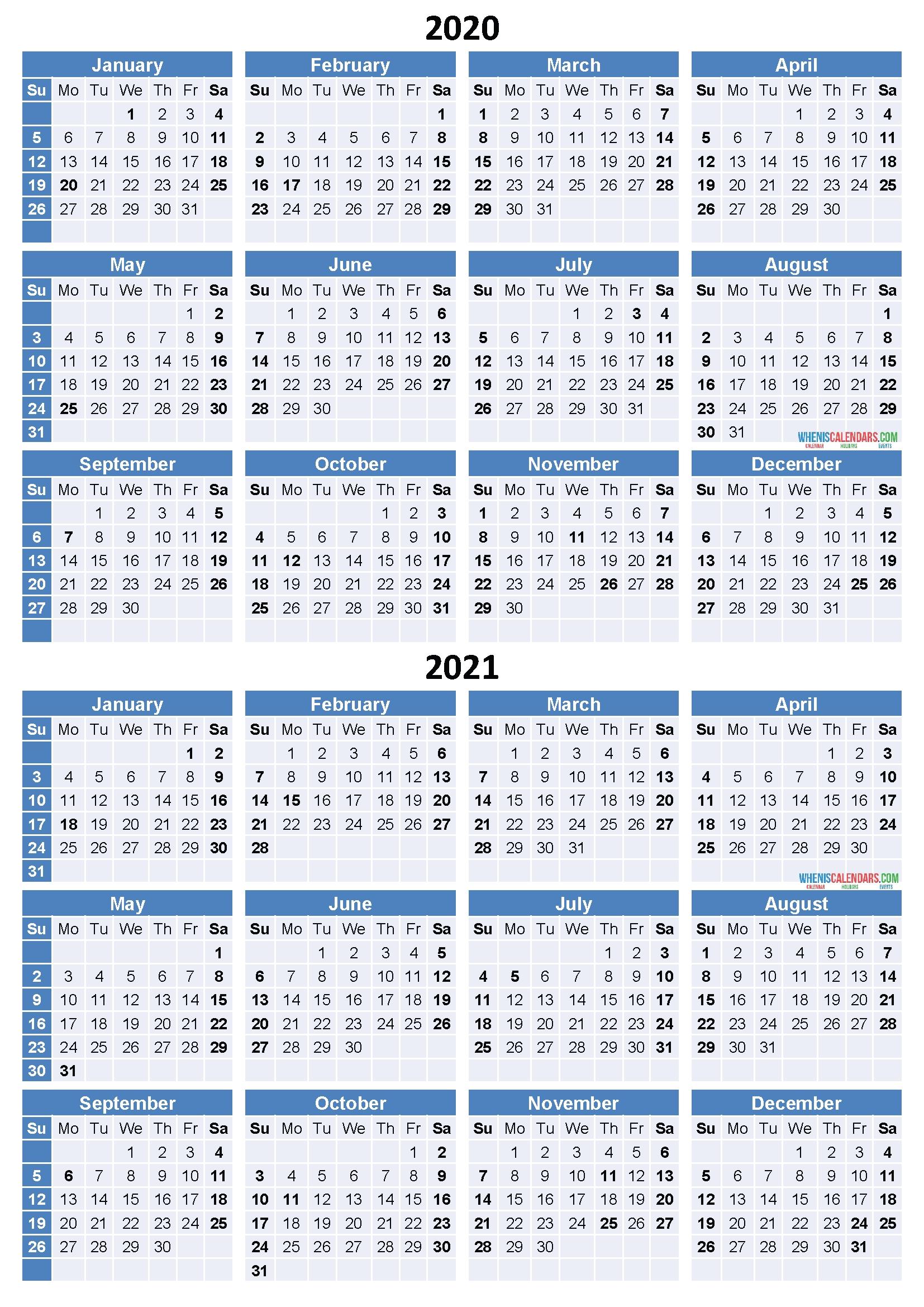 2020 And 2021 Calendar Printable Free Download Word, Pdf