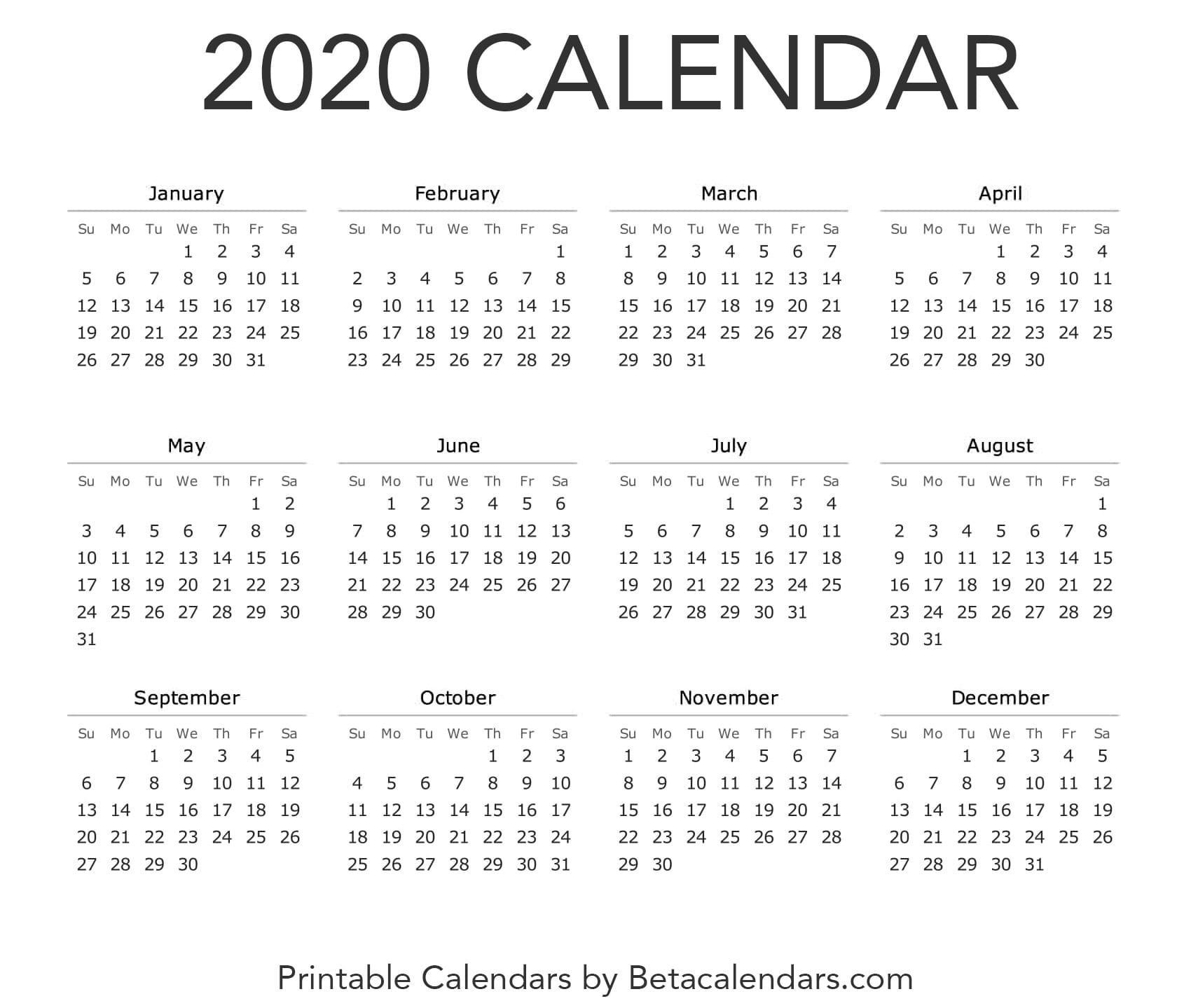 2020 Calendar - Free Printable Yearly Calendar 2020 (With