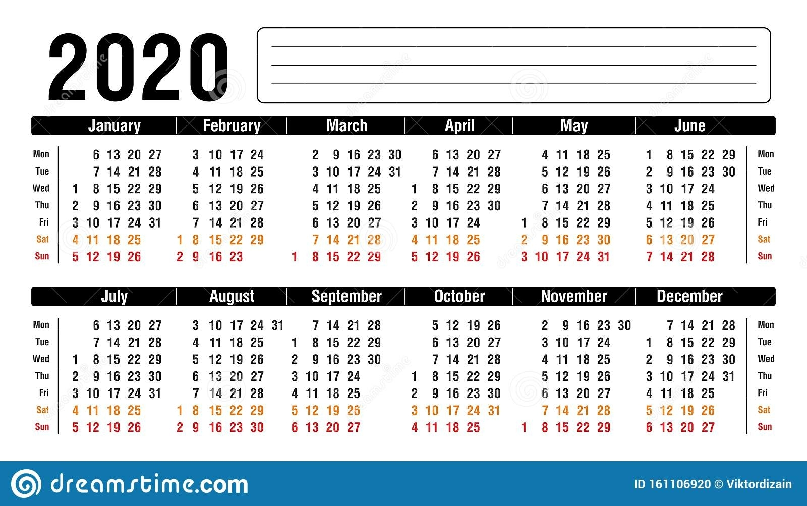 2020 Calendar Horizontal Template Stock Vector