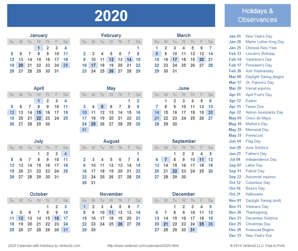 2020 Calendar Prints For Planning! | Printable Calendar