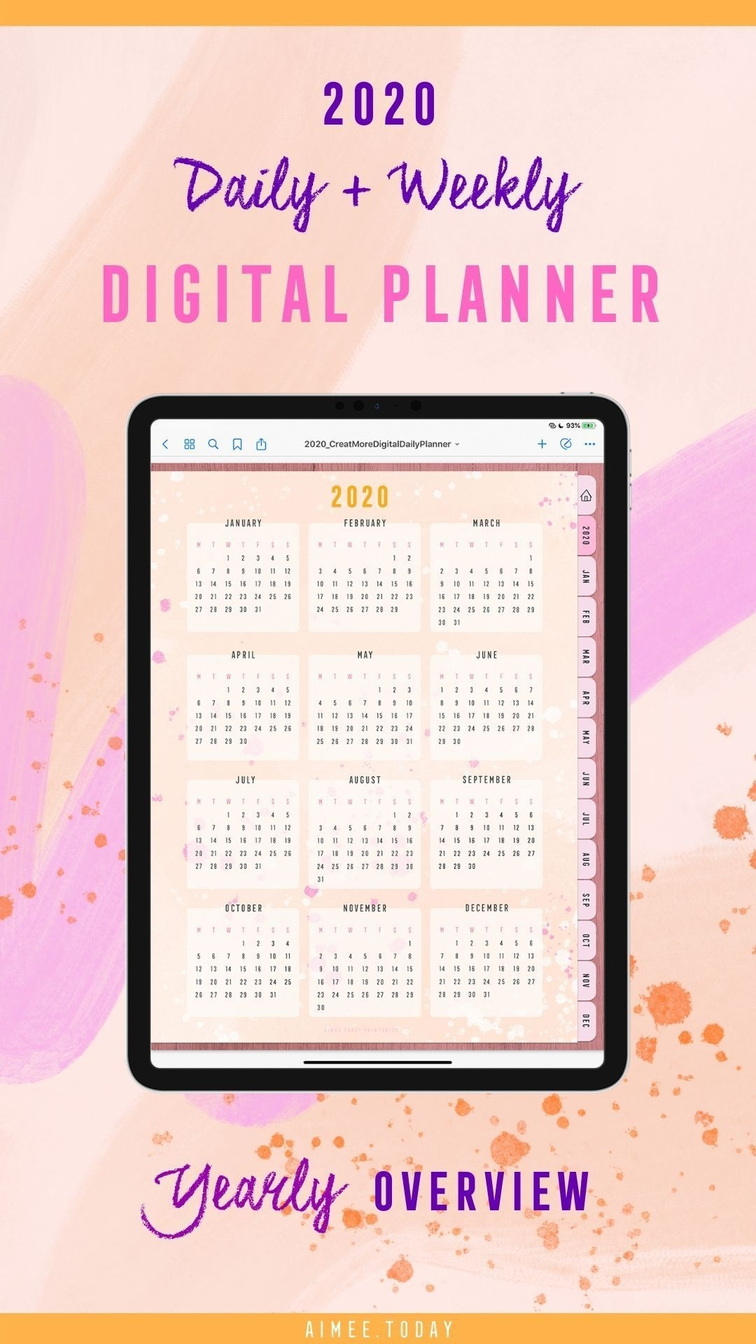 2020 Dated Digital Planner For Ipad To Use In Your Goodnotes