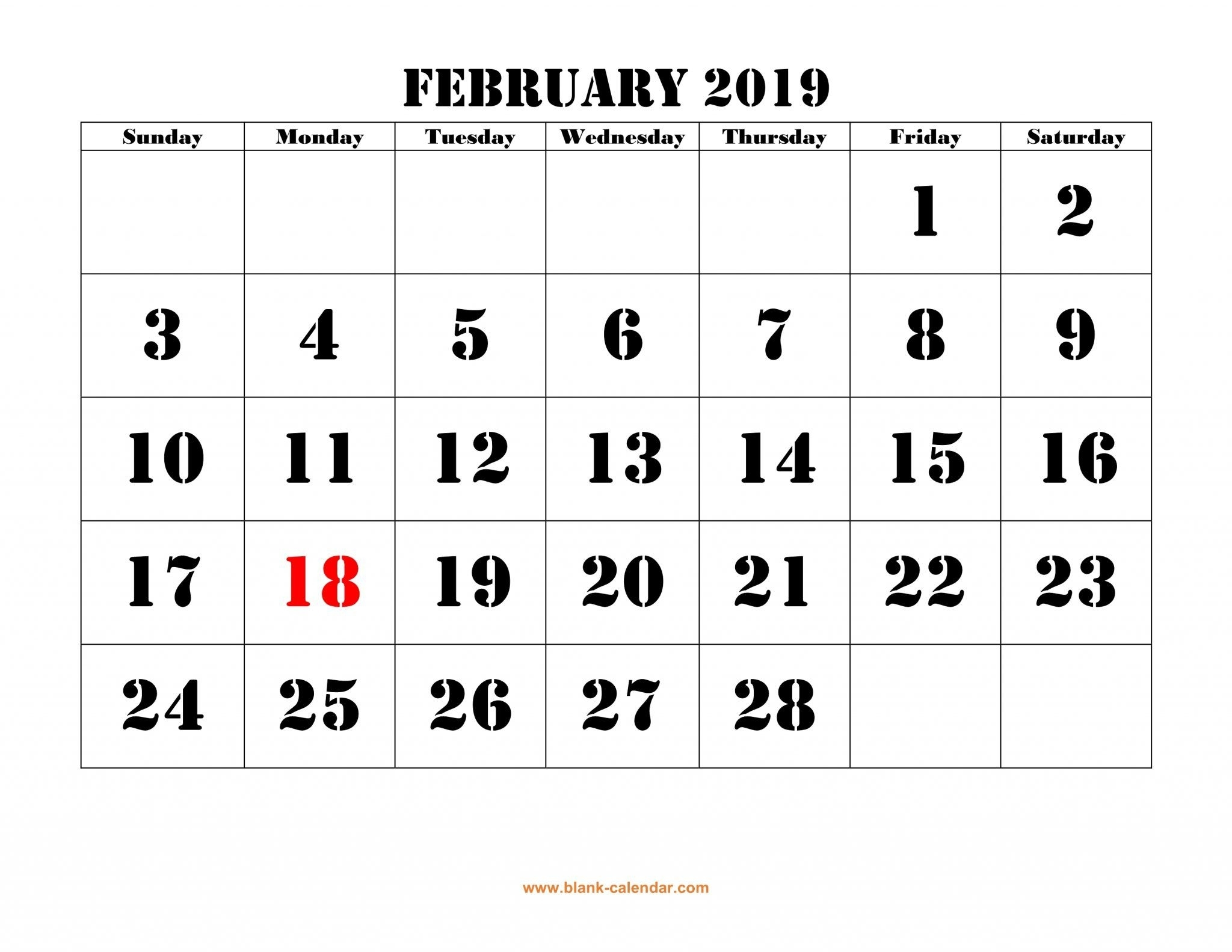 2020 February Calendar Printable By Week And Dates | Blank