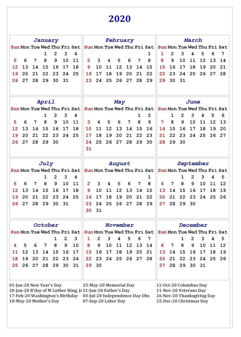 2020 One Page Calendar Printable | Calendar Printables