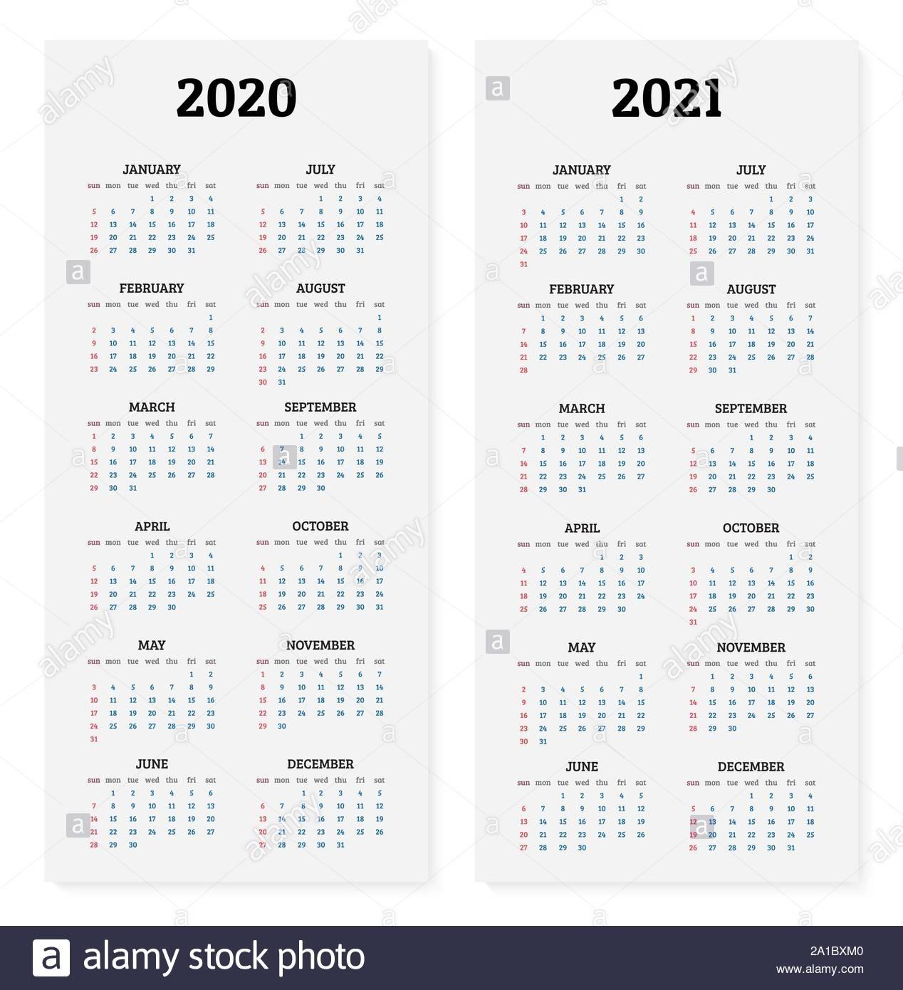 2020 Y 2021 Calendario Anual. Ilustración Vectorial Imagen