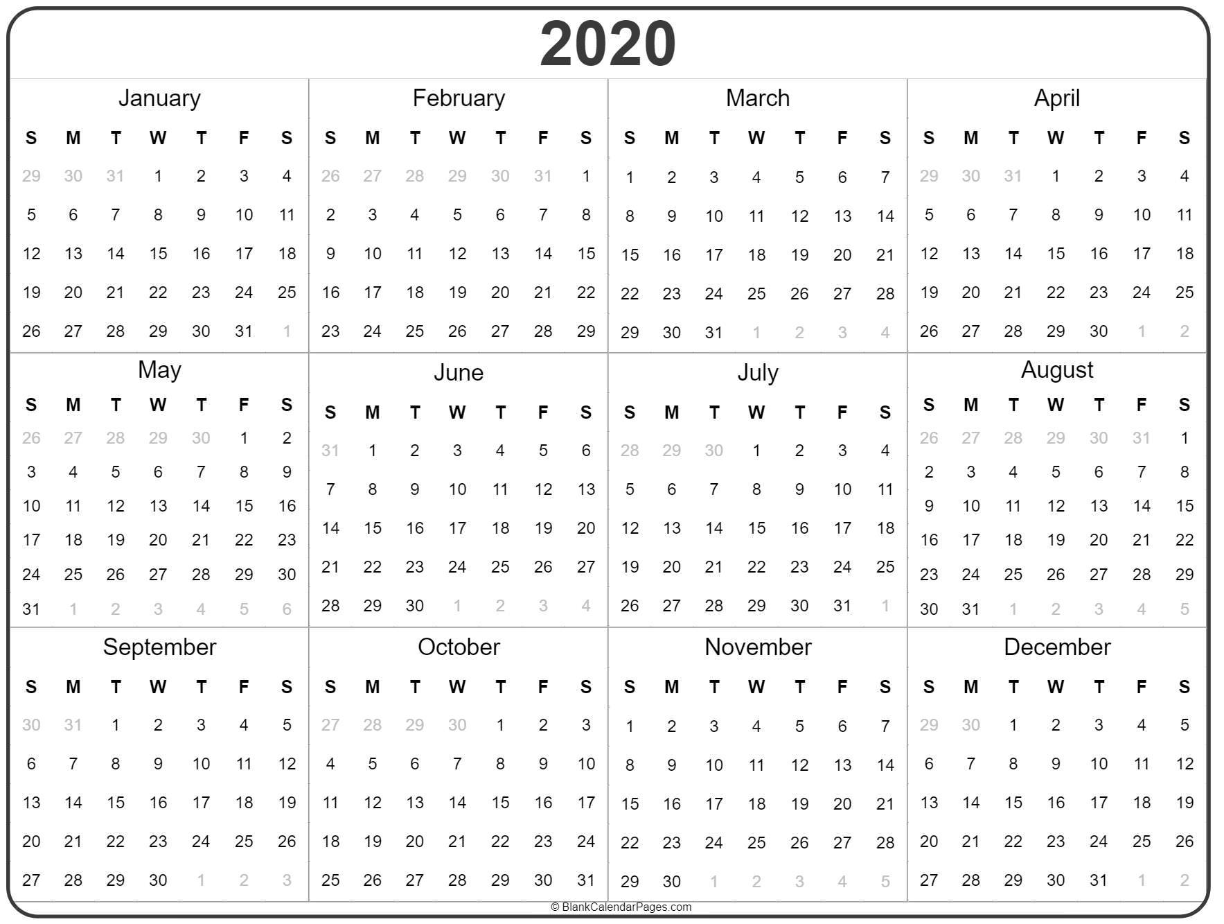 2020 Year Calendar | Yearly Printable