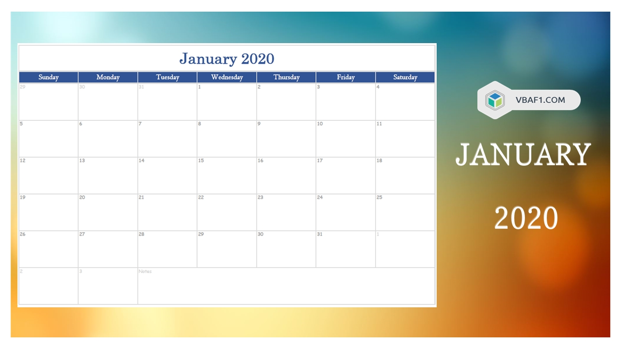 2020 Year Monthly Calendar | Free Download | Vbaf1