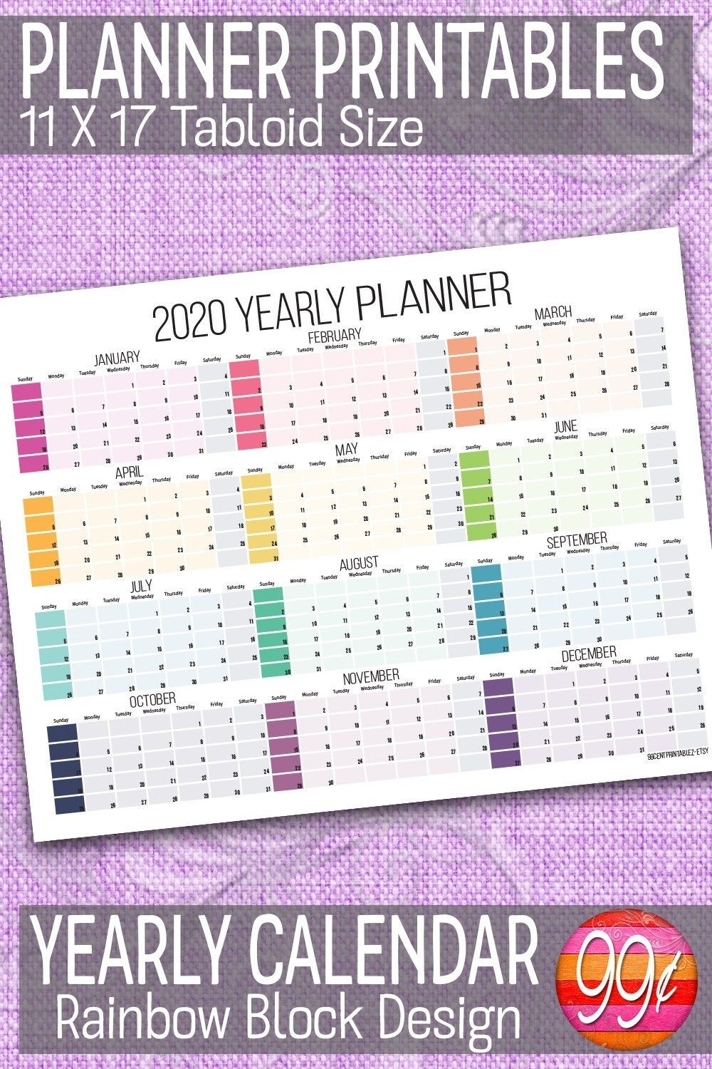 2020 Yearly Calendar | 11X17 | Printable | Color Block