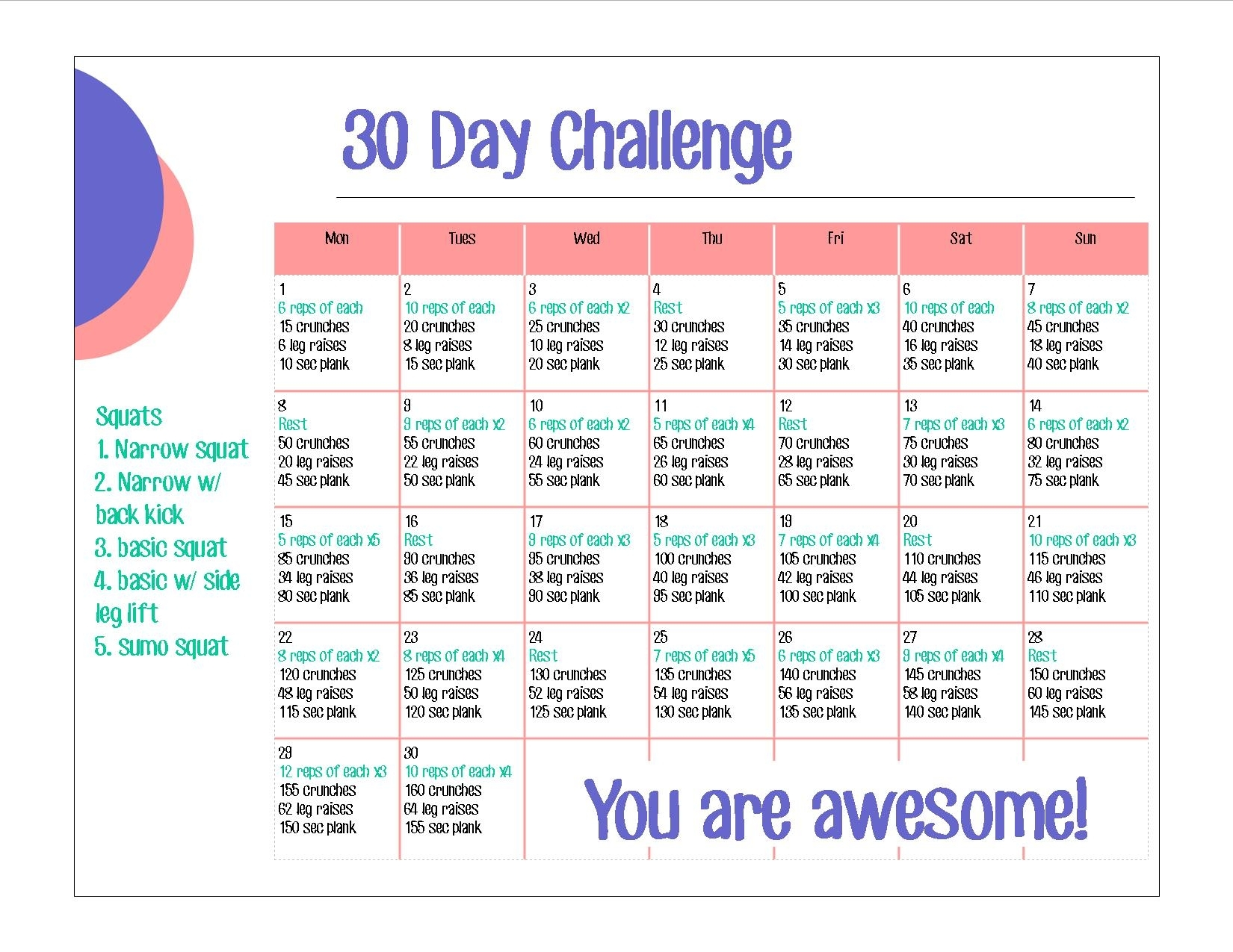 30 Day Challenge- Abs & Squats - Cypress + Wool