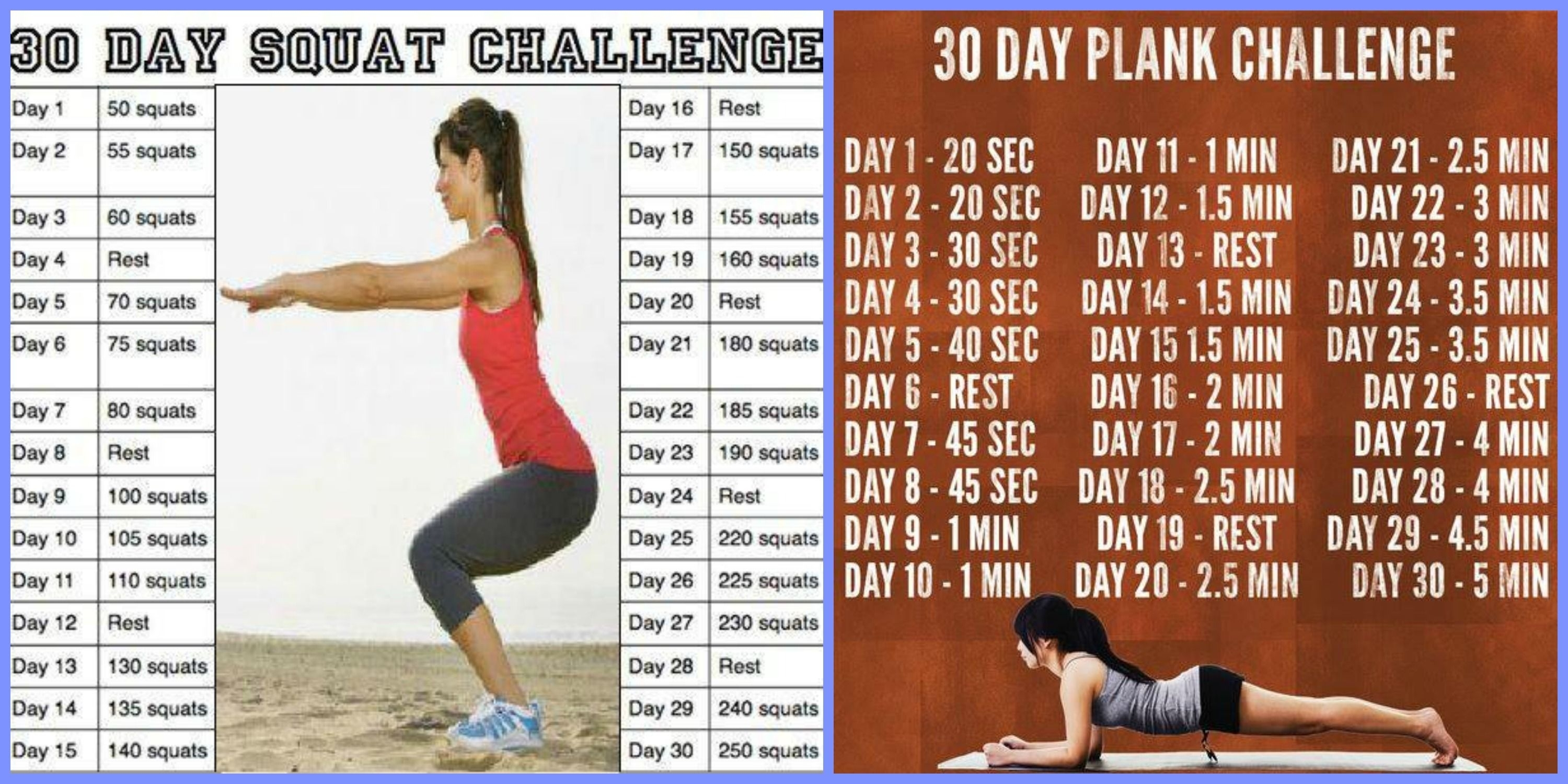 30-Day Squat Challenge Printable | 30 Day Squat/plank