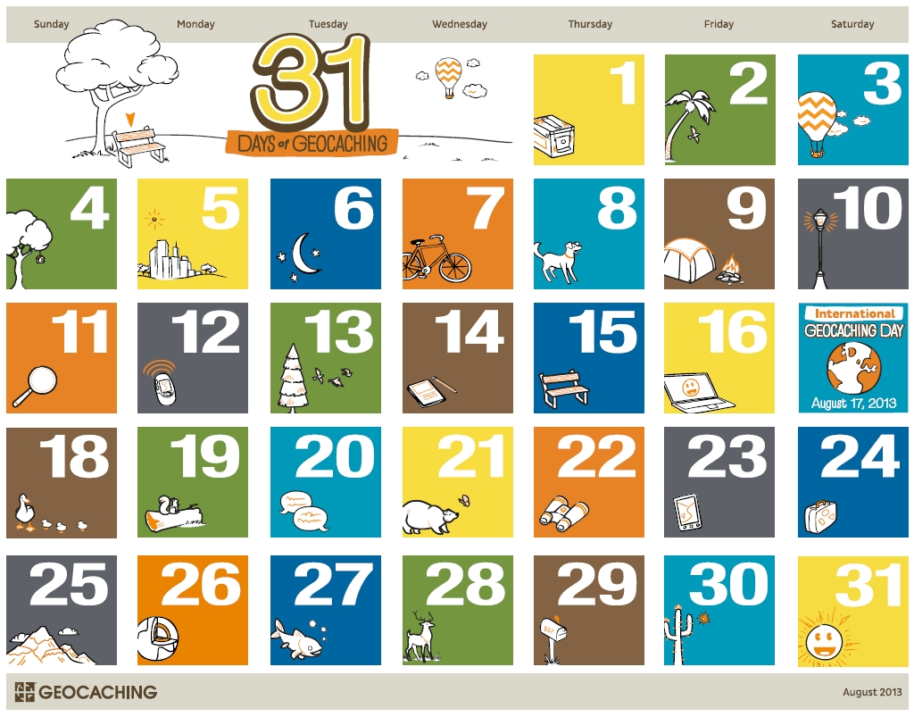 31 Days Of Geocaching Printable Calendar – Official Blog