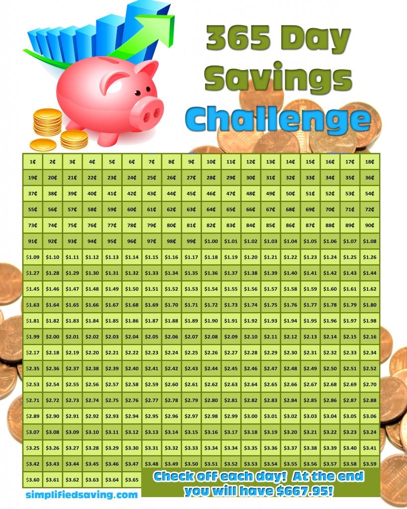 365 Day Savings Challenge And A Free Printable | Savings