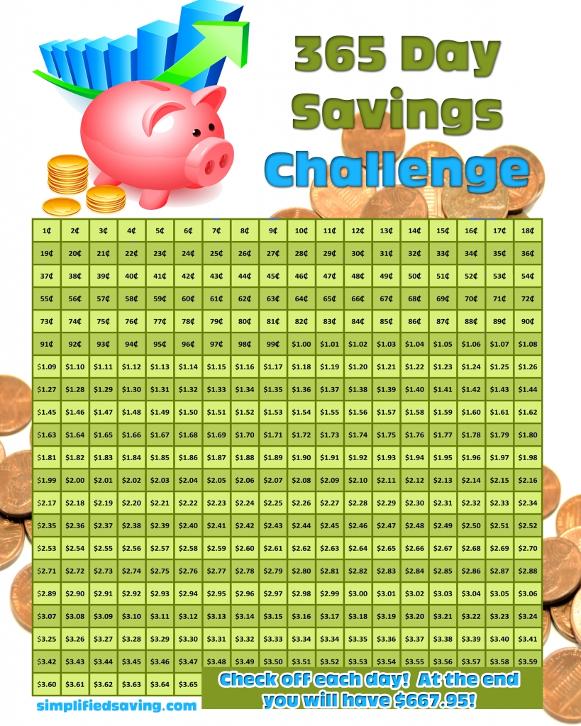 365 Day Savings Challenge And A Free Printable (With Images