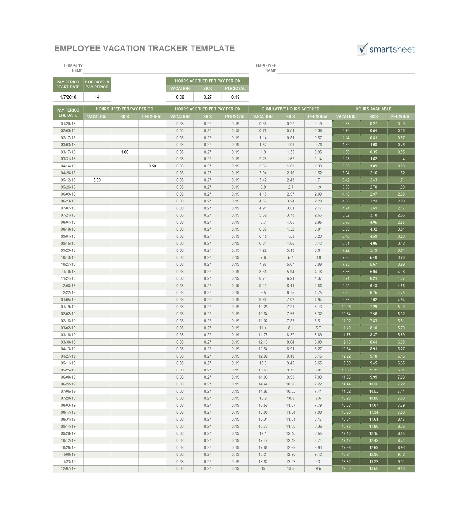 49 Employee Vacation Trackers (Excel & Word) ᐅ Templatelab