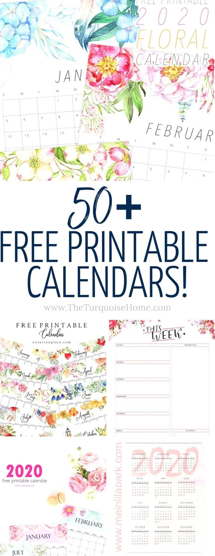 50+ Free Printable Calendars For 2020 | The Turquoise Home