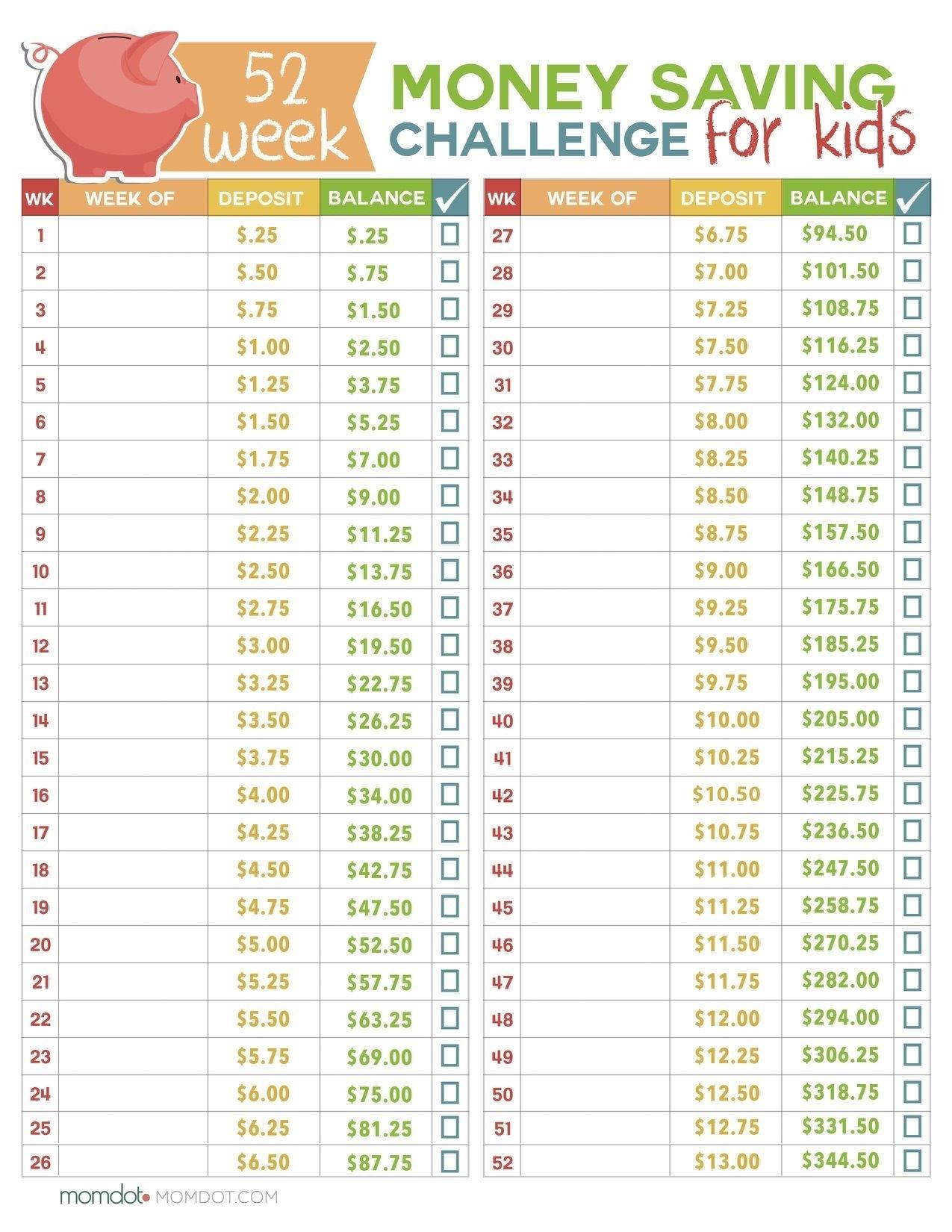 52 Week Money Challenge For Kids | Kids Money, 52 Week Money