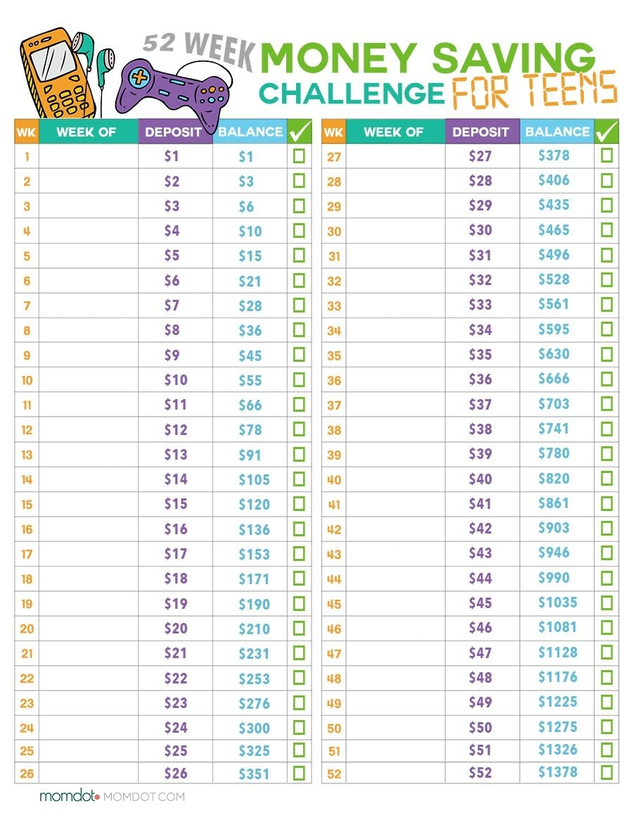 52 Week Money Challenge For Teens Free Printable (With
