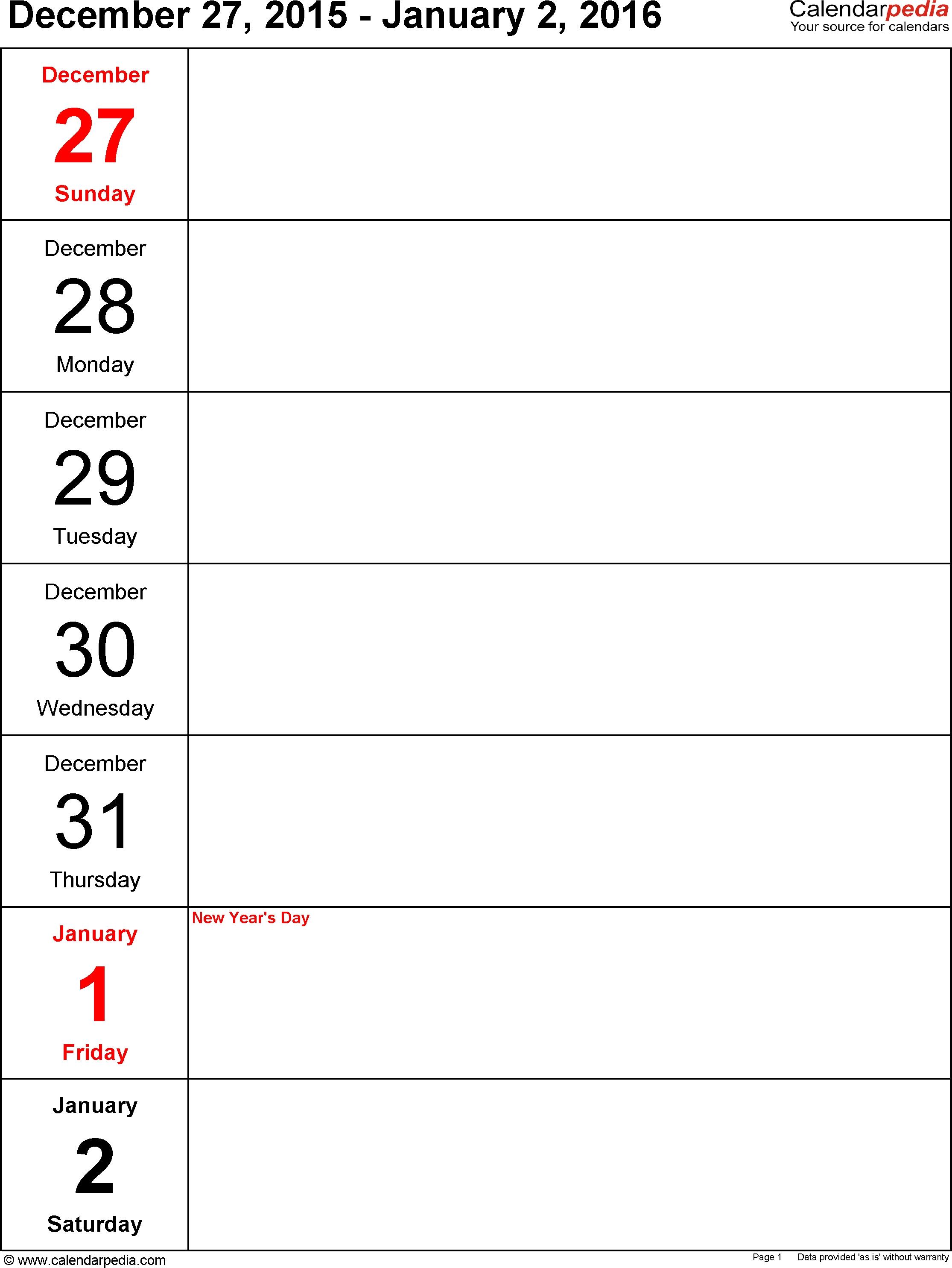 6 Best Images Of Free Printable Weekly Planner 2016 - 2016
