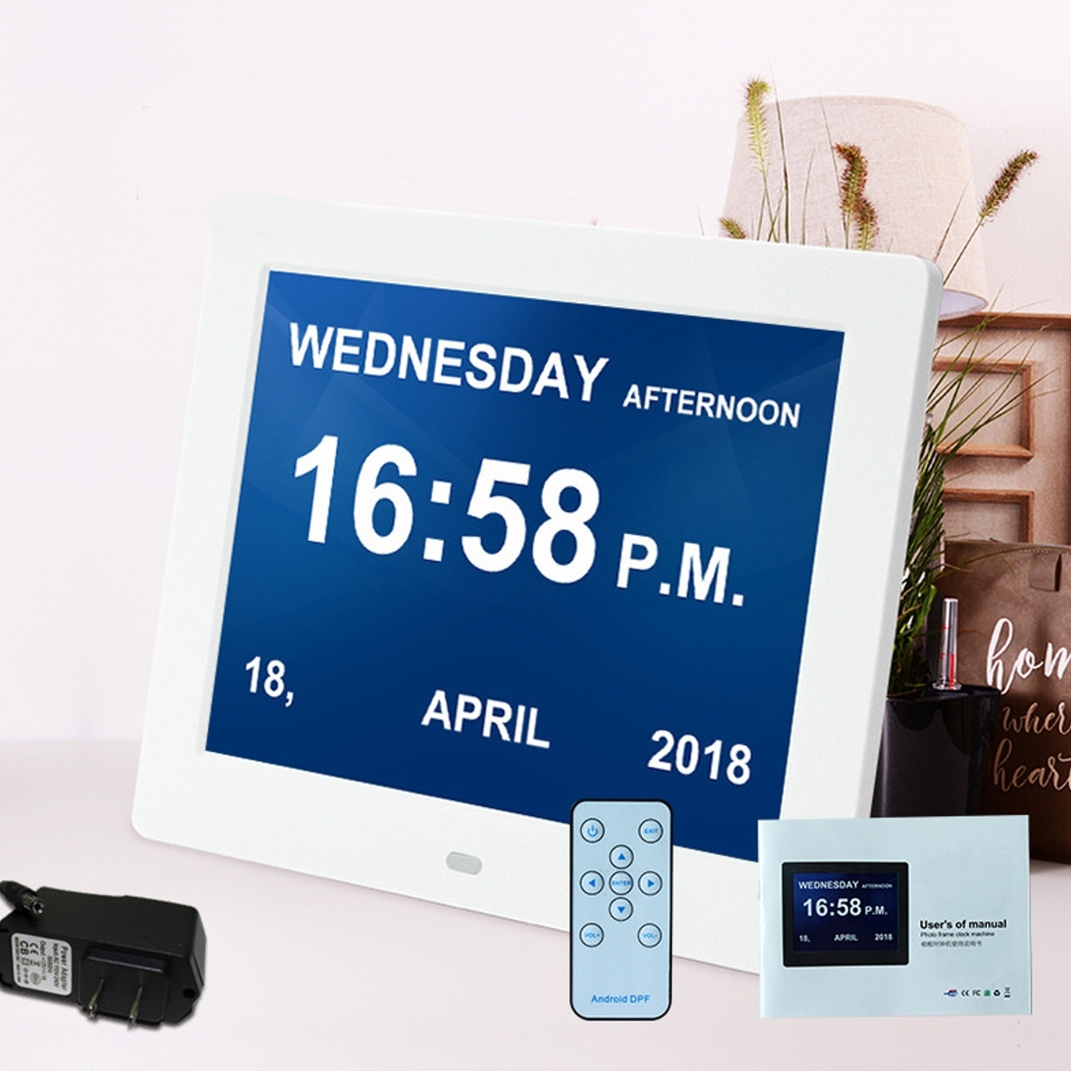8'' Led Dementia Digital Calendar Clock Alarm Large Letter Multimedia +  Remote Travel Home Office Desk Clocks