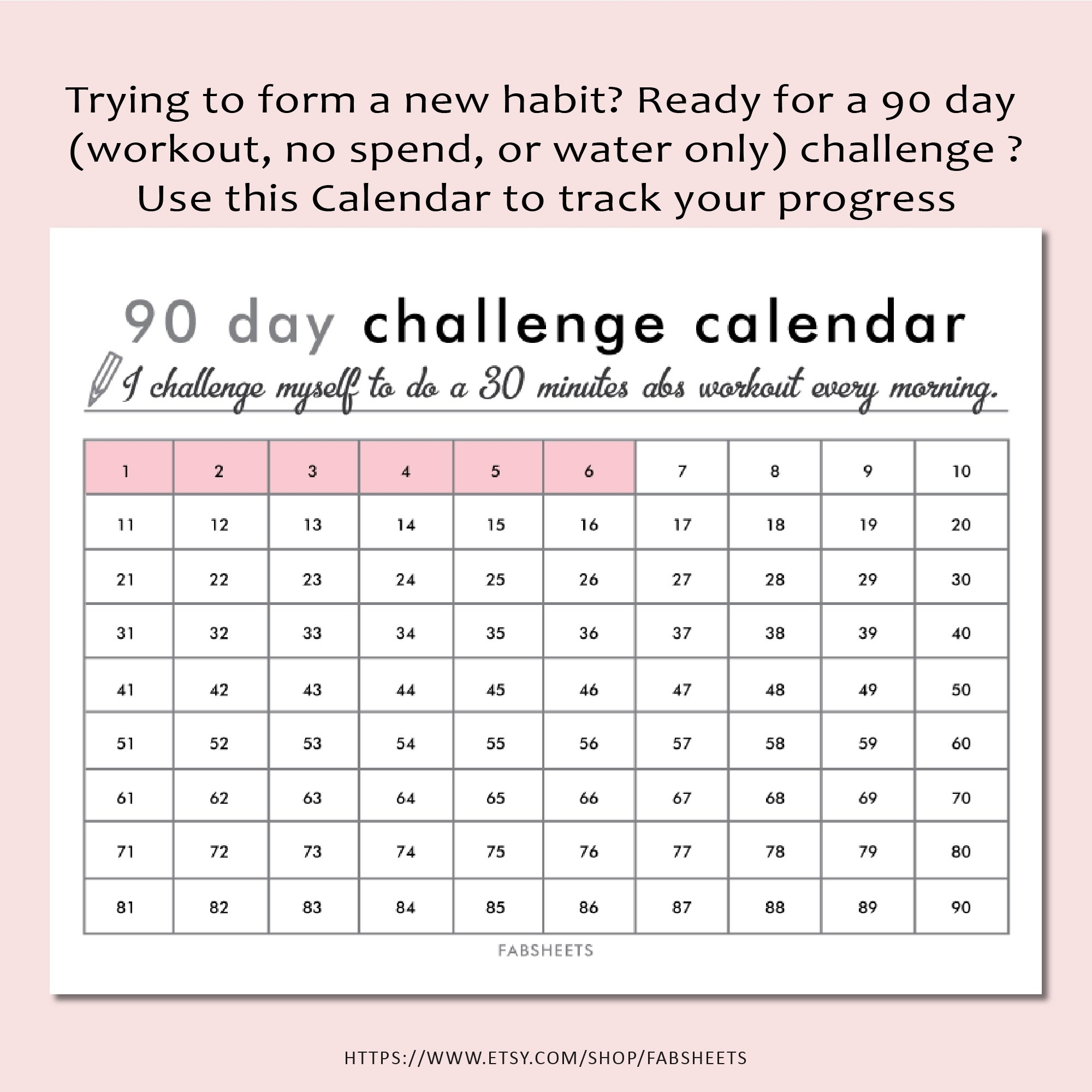90 Day Challenge Calendar - Wholeheartedly Grace