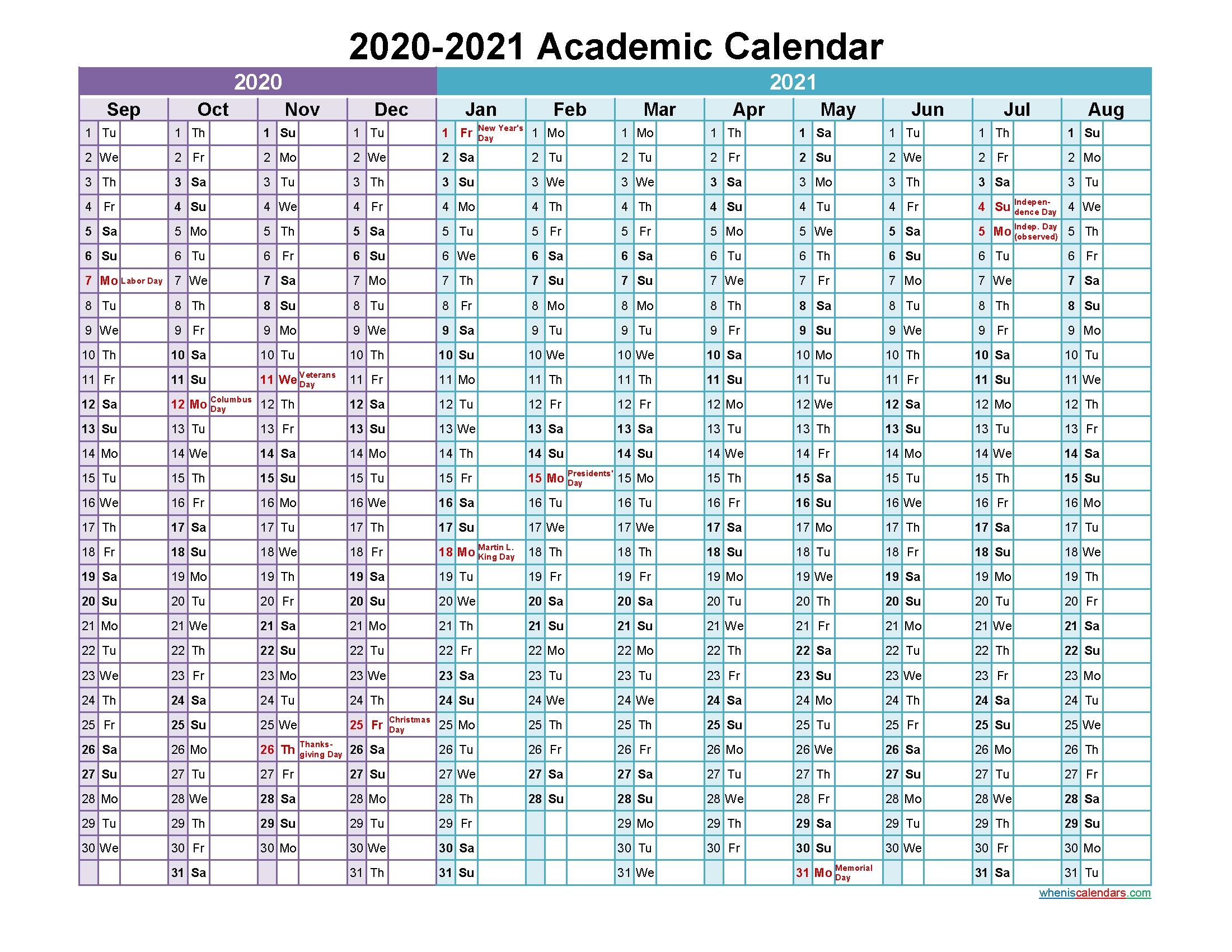 Academic Calendar 2020 And 2021 Printable (Landscape