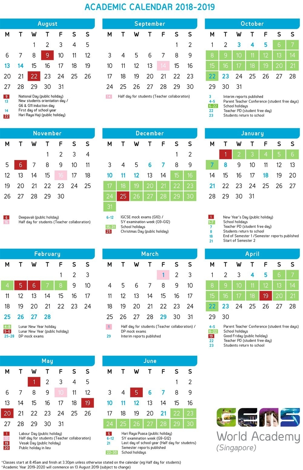 Academic Calendar | Gems World Academy (Singapore) (With