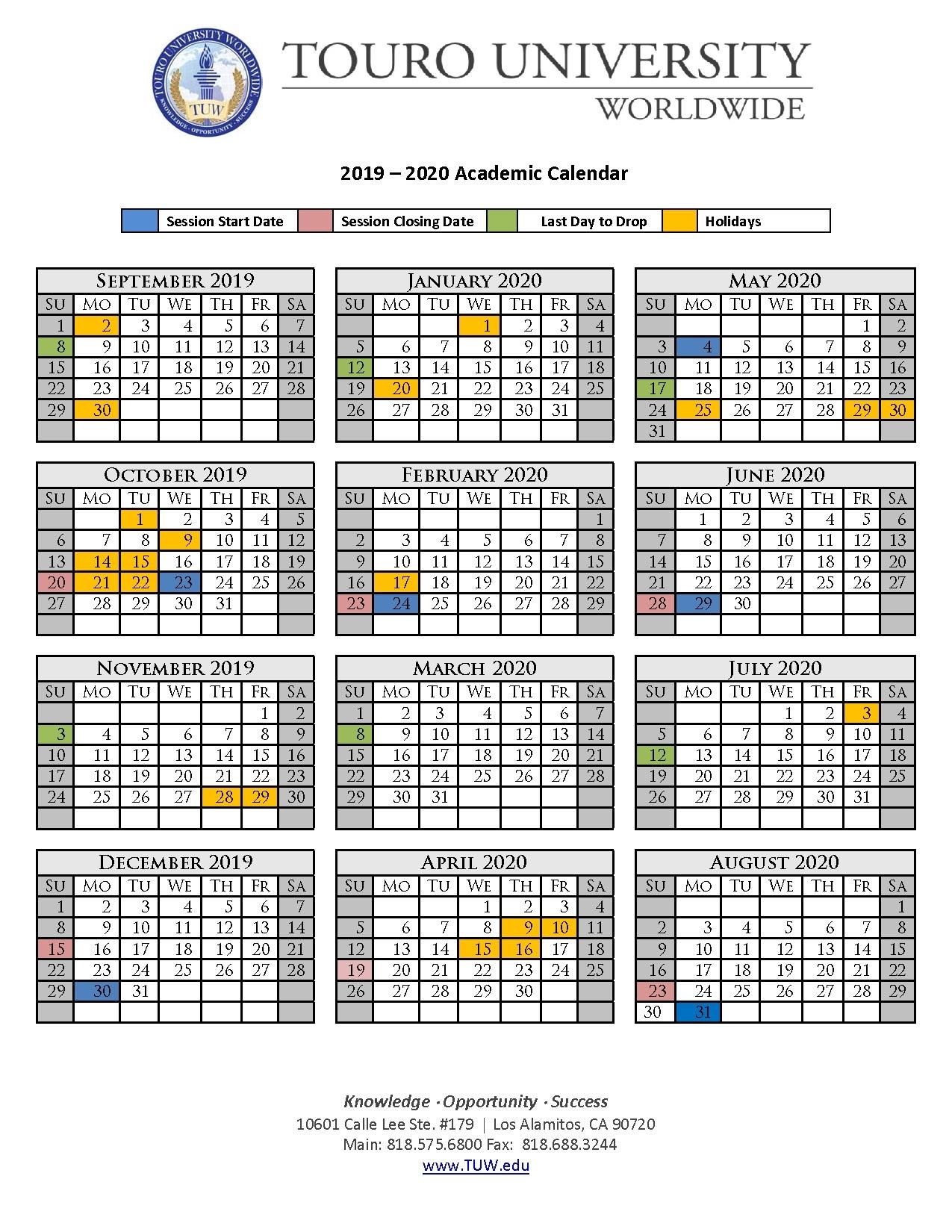 Academic Calendar | Touro University Worldwide