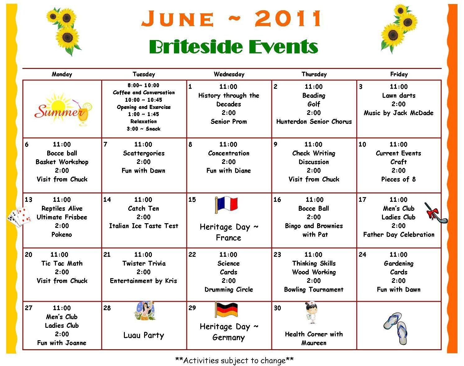 Activity Calendar Britesideadultdaycenter (With Images