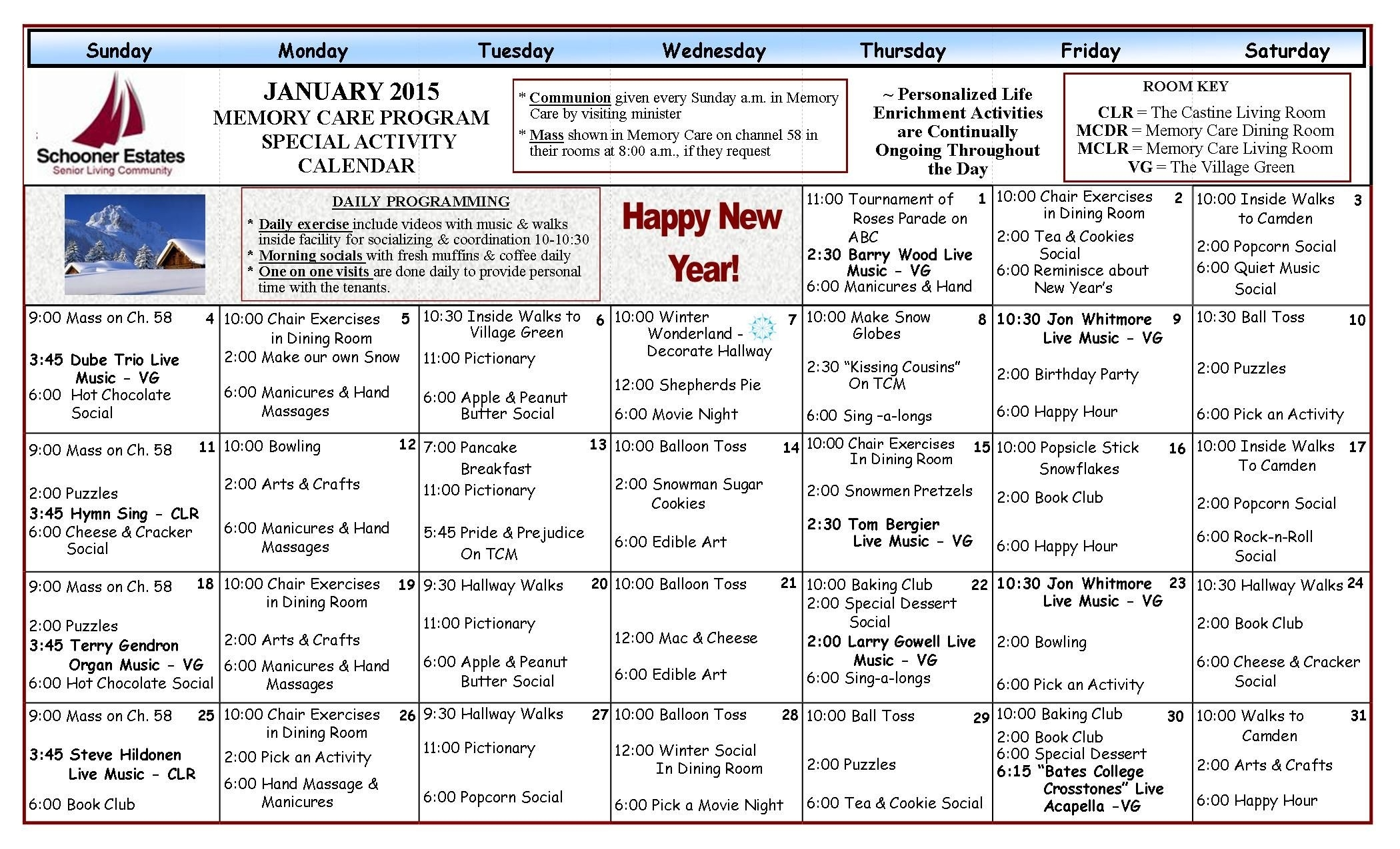 Activity Schedule In Memory Care | January 2015 Activity