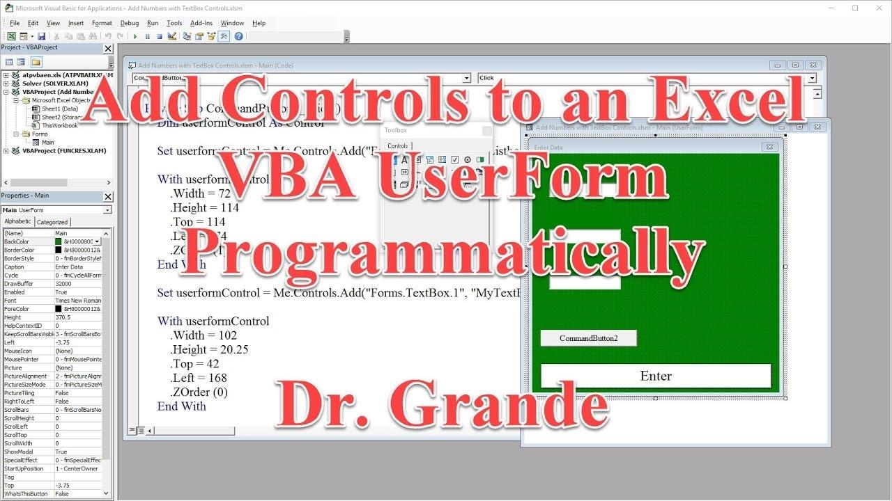 Adding Controls To An Excel Vba Userform Programmatically