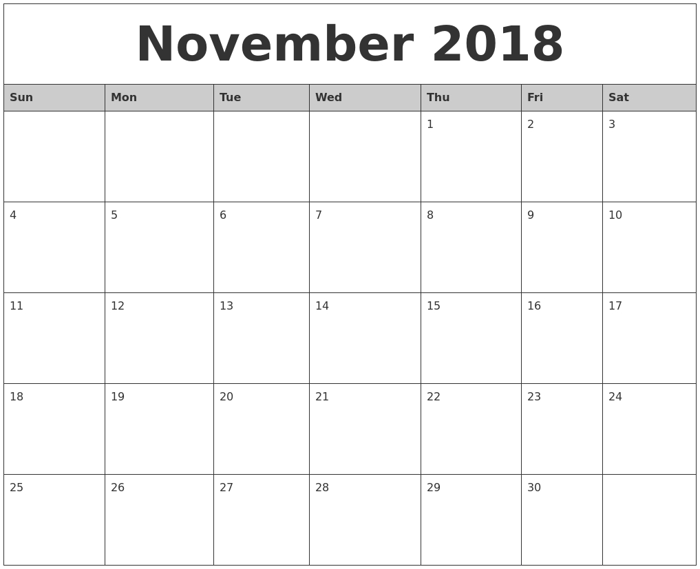 April 2018 Calendar Templates Printable — November Calendar