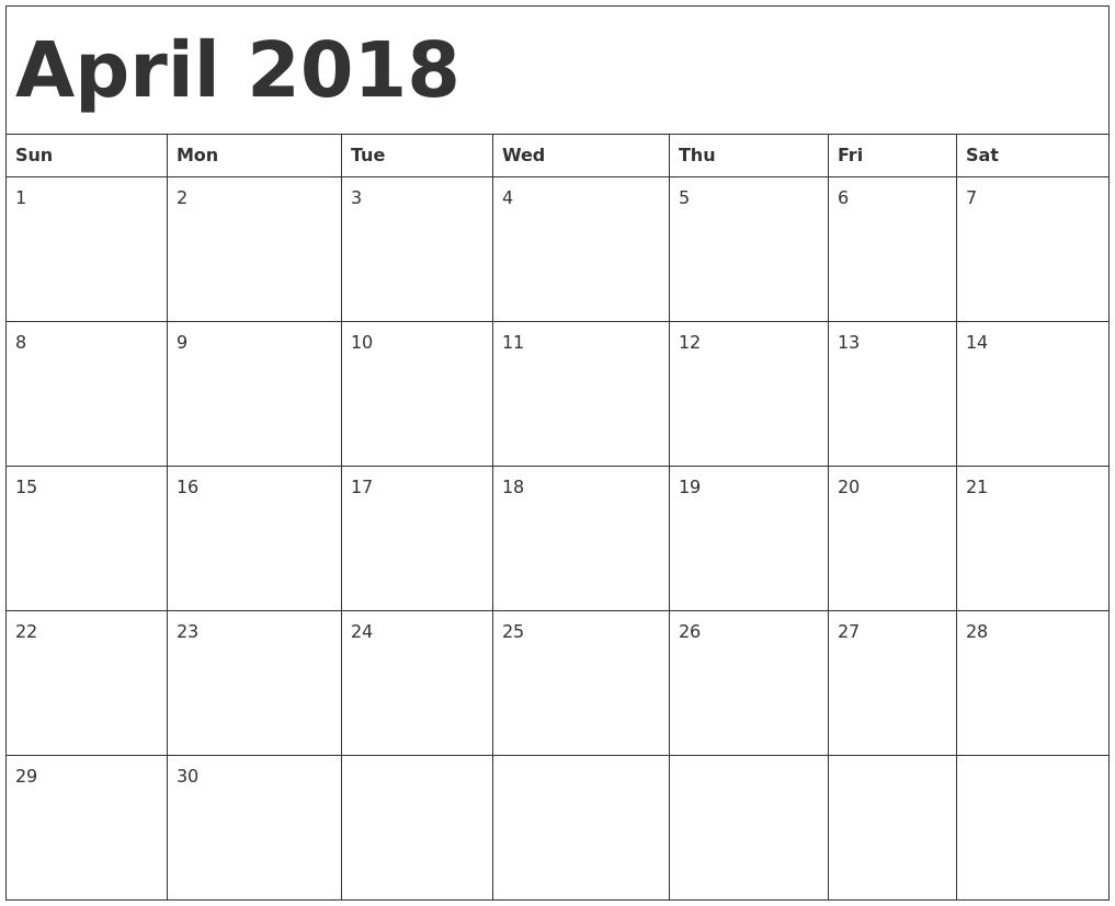 April 2018 Printable Calendar – Printable Free Calendar 2017