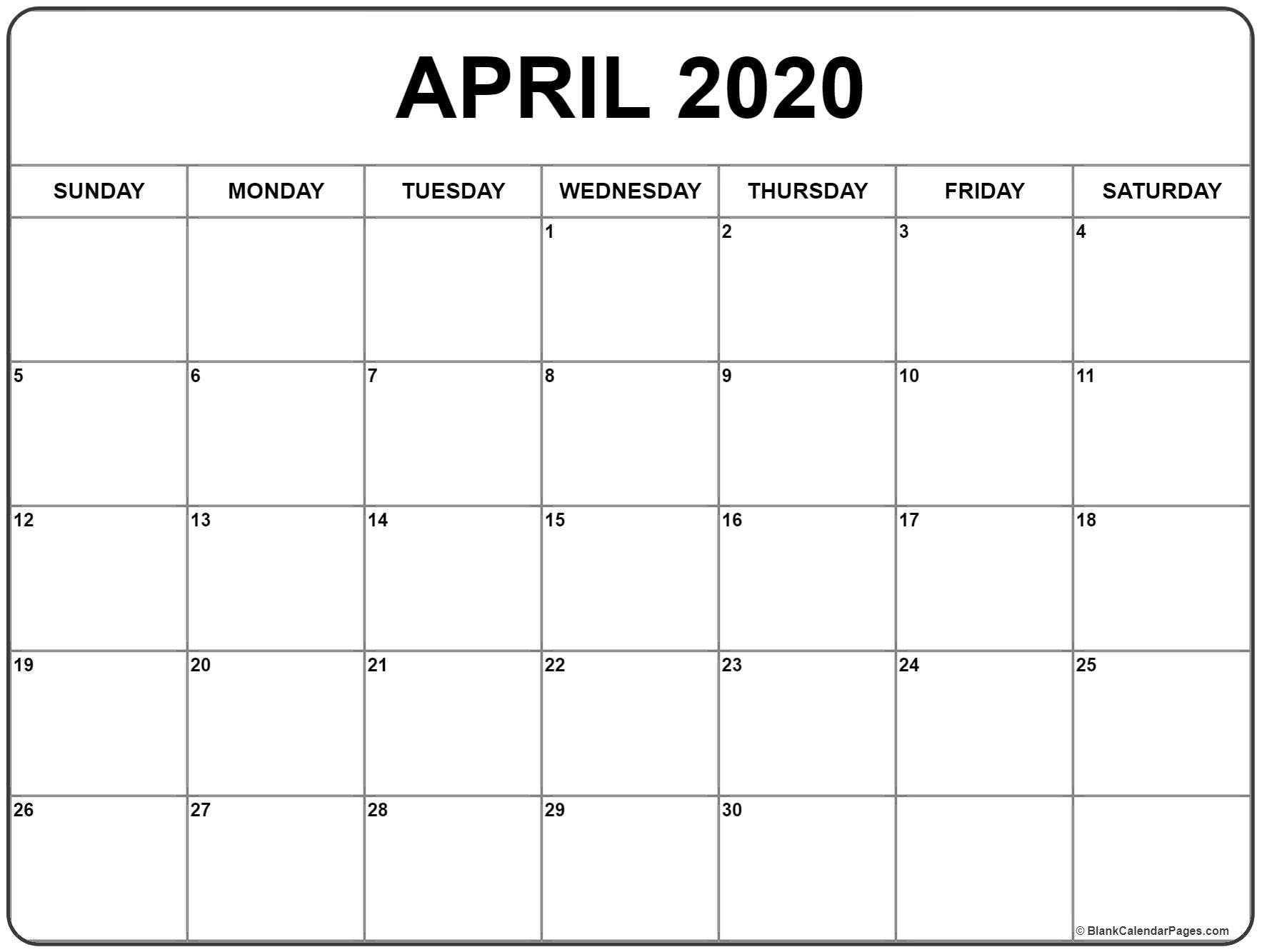 April 2020 Calendar | Free Printable Monthly Calendars