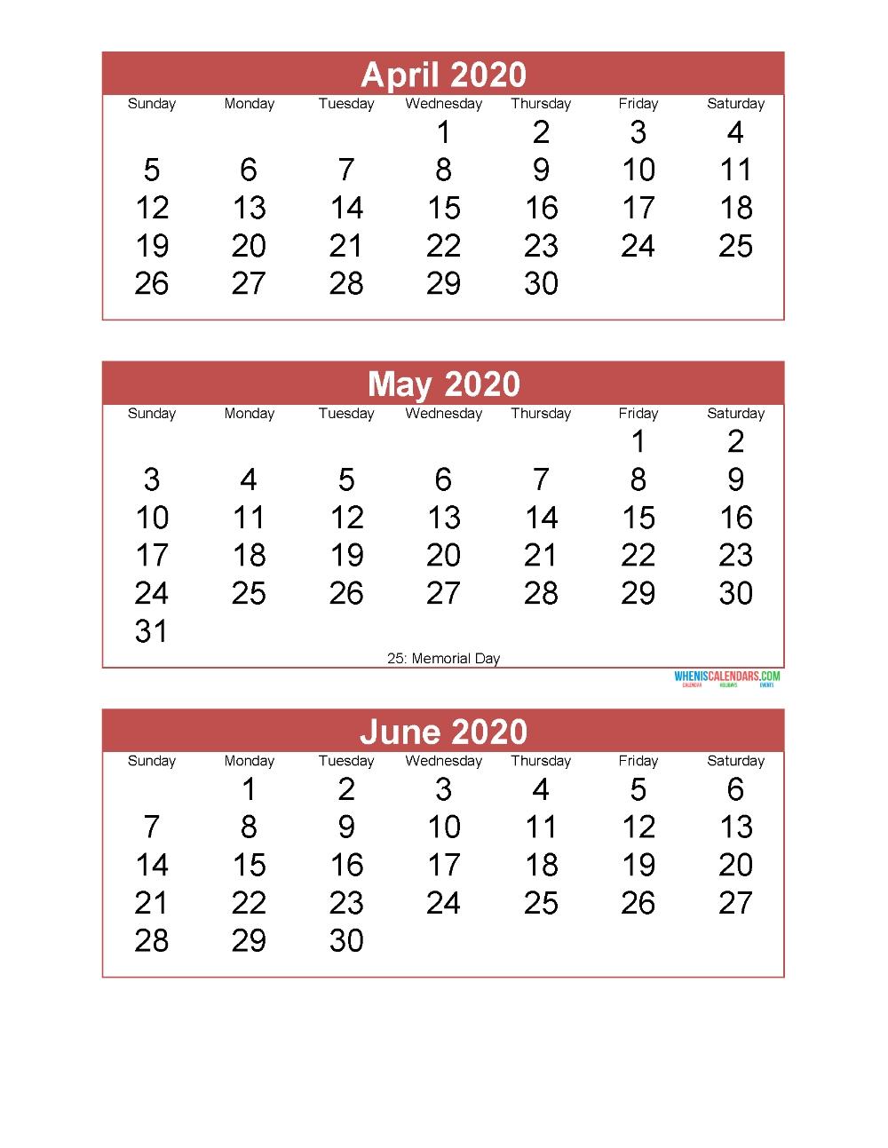 April May June 2020 Calendar 3 Months Per Page Printable