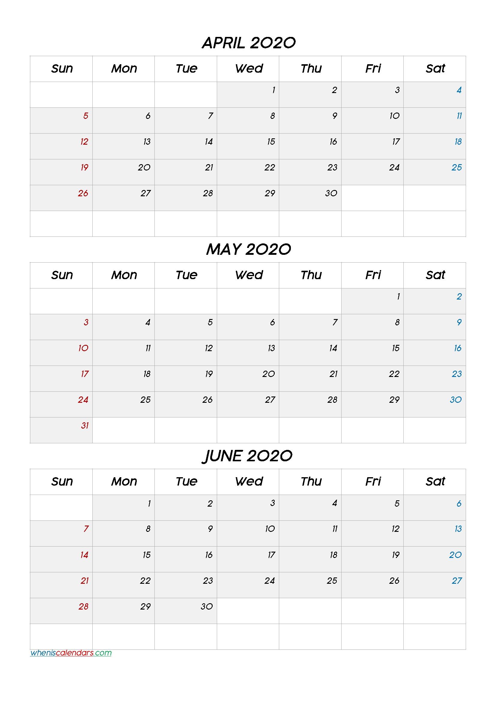 April May June 2020 Three Month Calendar-20Cc6 | Free