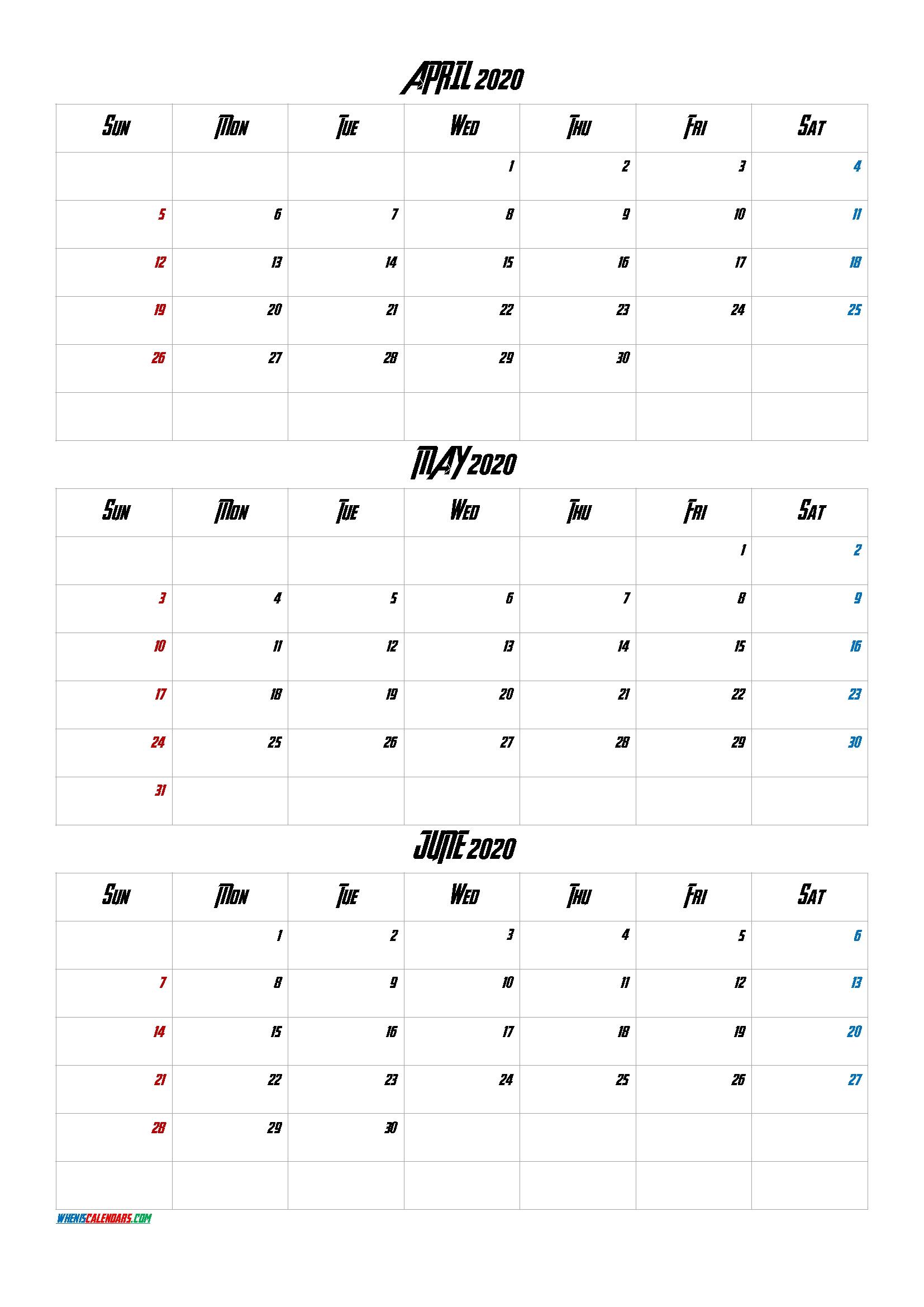 April May June 2020 Three Month Calendar Printable-20Av4
