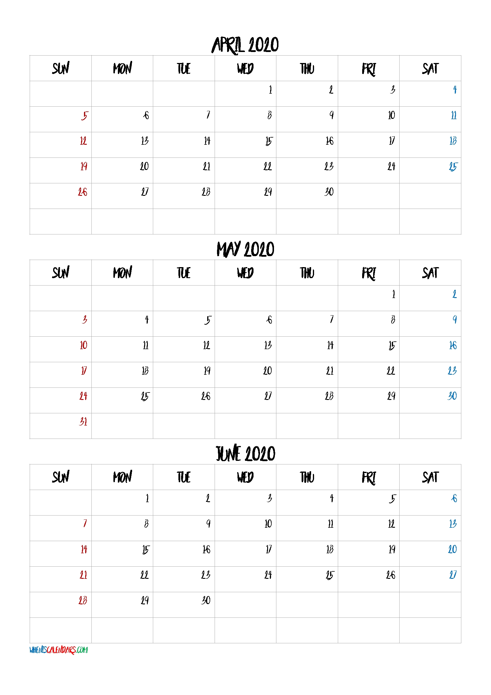April May June 2020 Three Month Calendar Printable-20Bb4