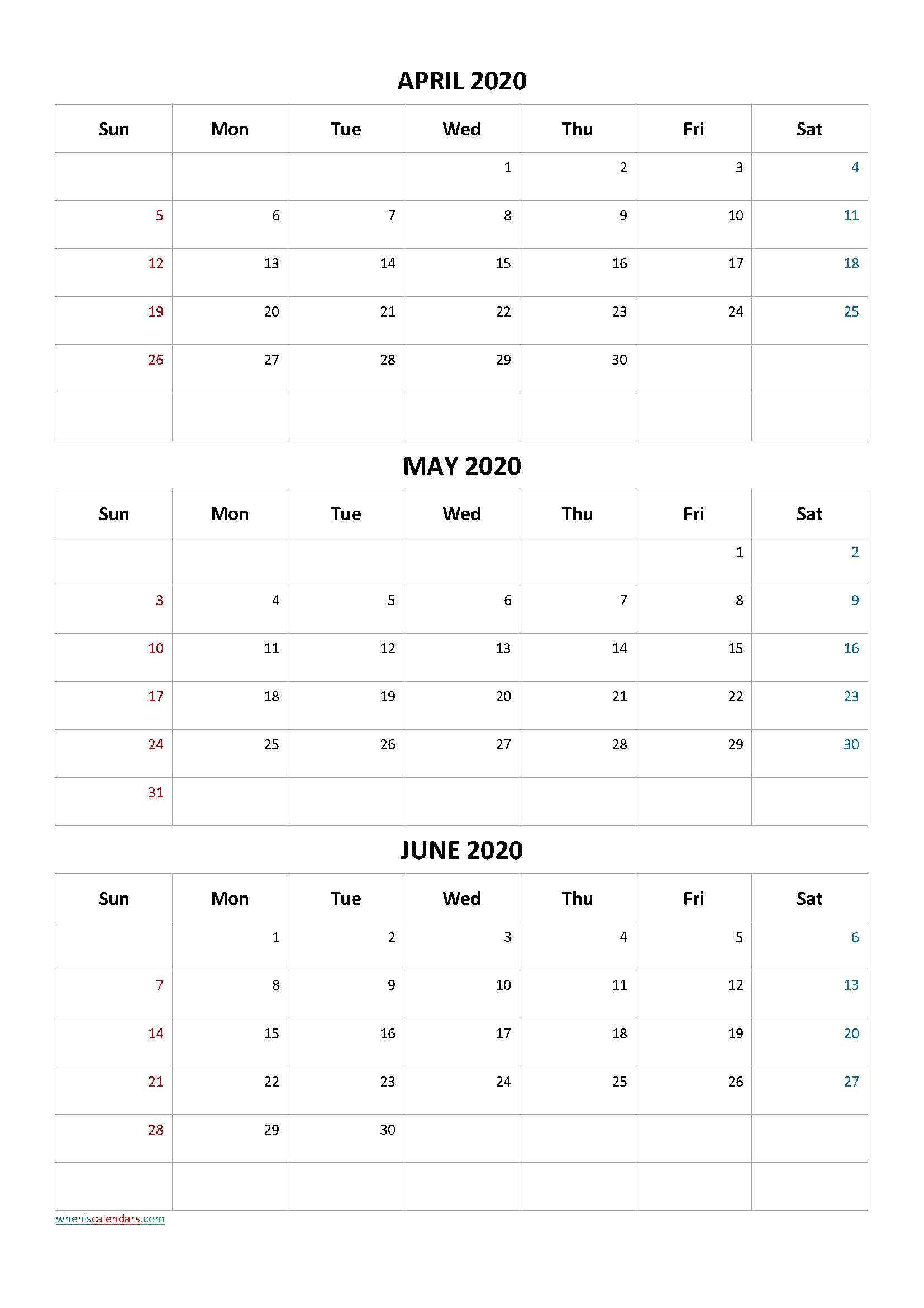 April May June 2020 Three Month Calendar Printable-20Ca4