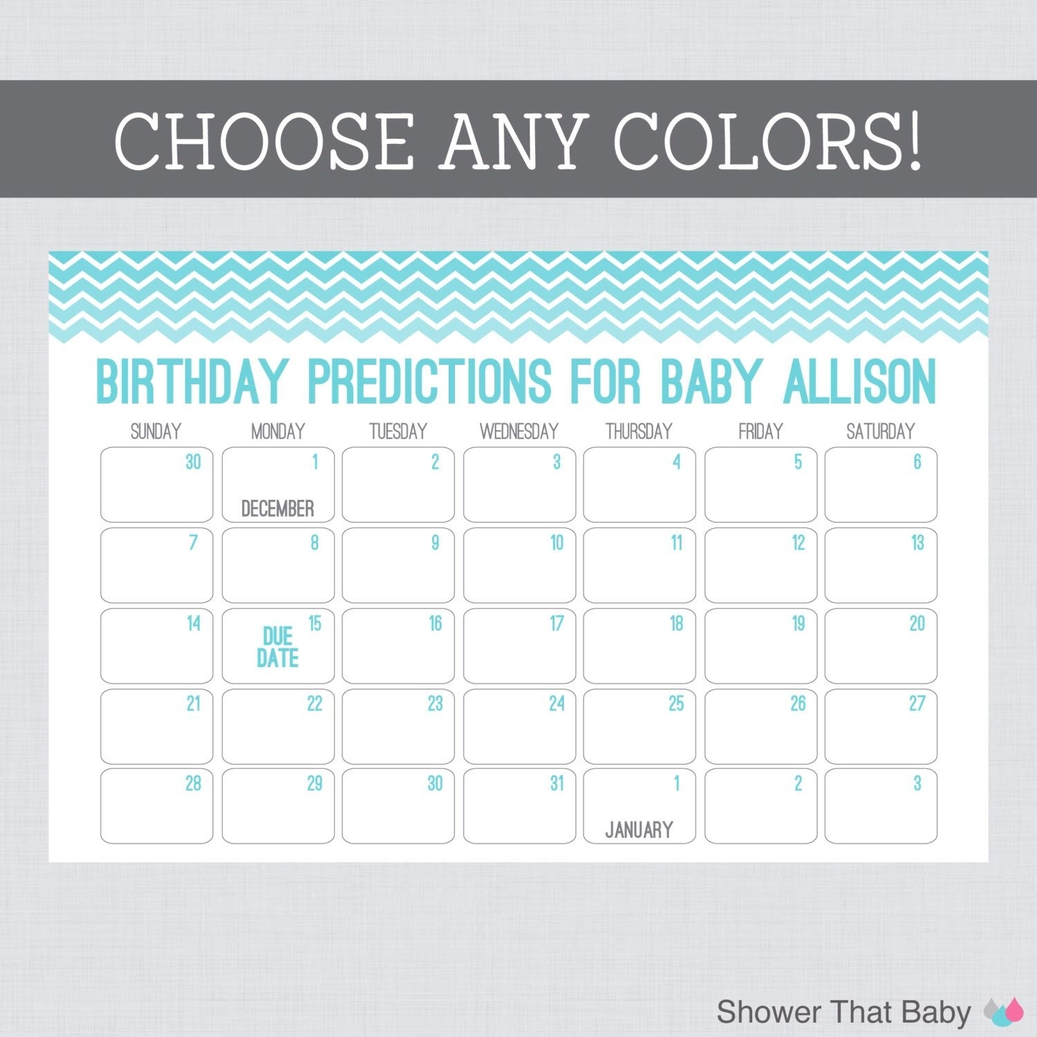 Baby Birthday Predictions Printable Chevron Baby Shower