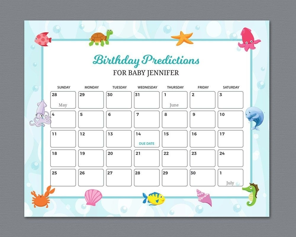 Baby Due Date Calendar Sign, Birthday Predictions, Guess The