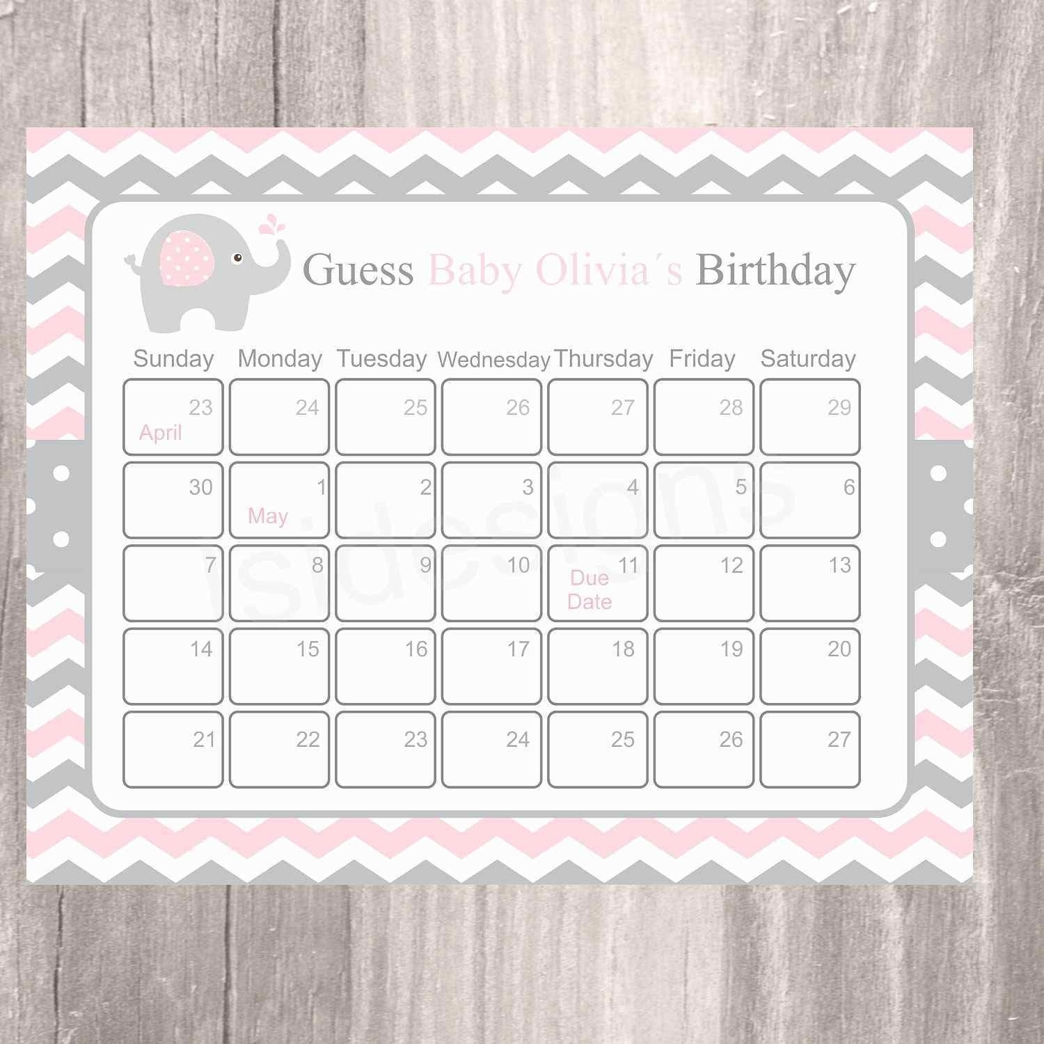 Baby Shower Calendar Template - Mance