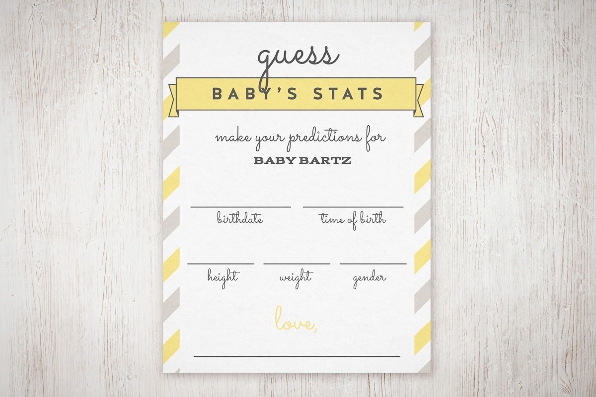 "Baby Shower ""guess The Stats"" Free Printable (With Images"