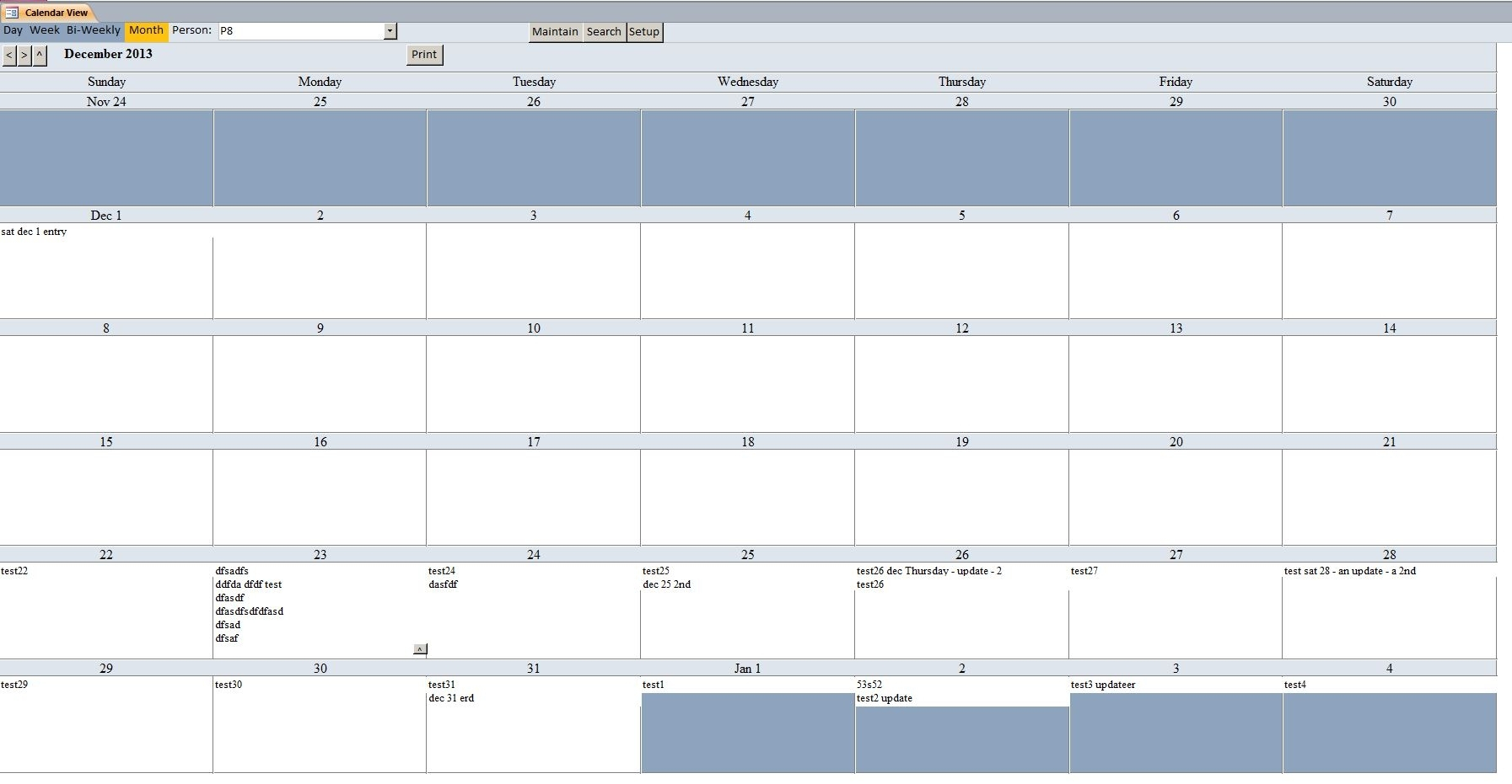 Basic Calendar Scheduling Database Template | Calendar