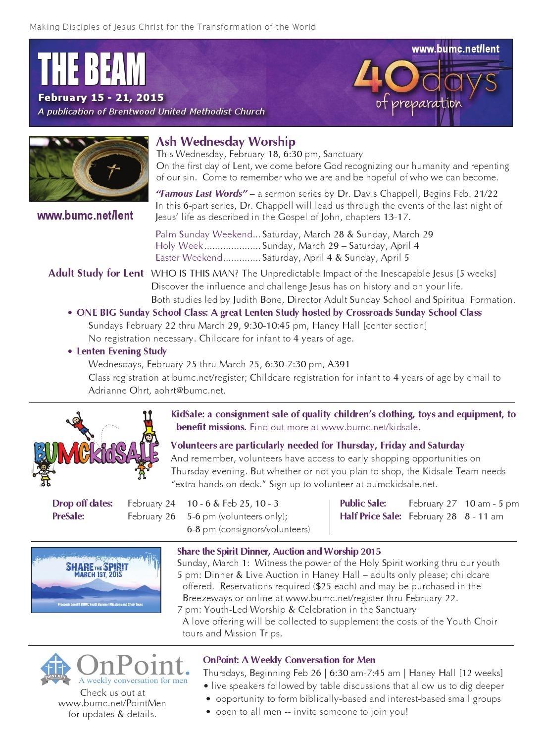 Beam - Feb 15 Issue By Brentwood United Methodist Church - Issuu