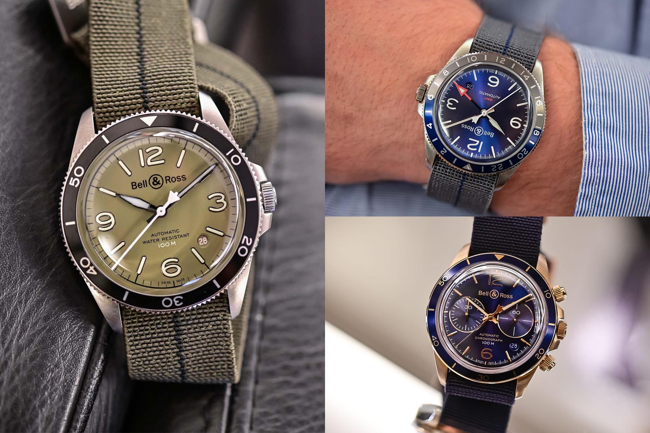 Bell & Ross Vintage Military Green, Gmt Blue And Aeronavale