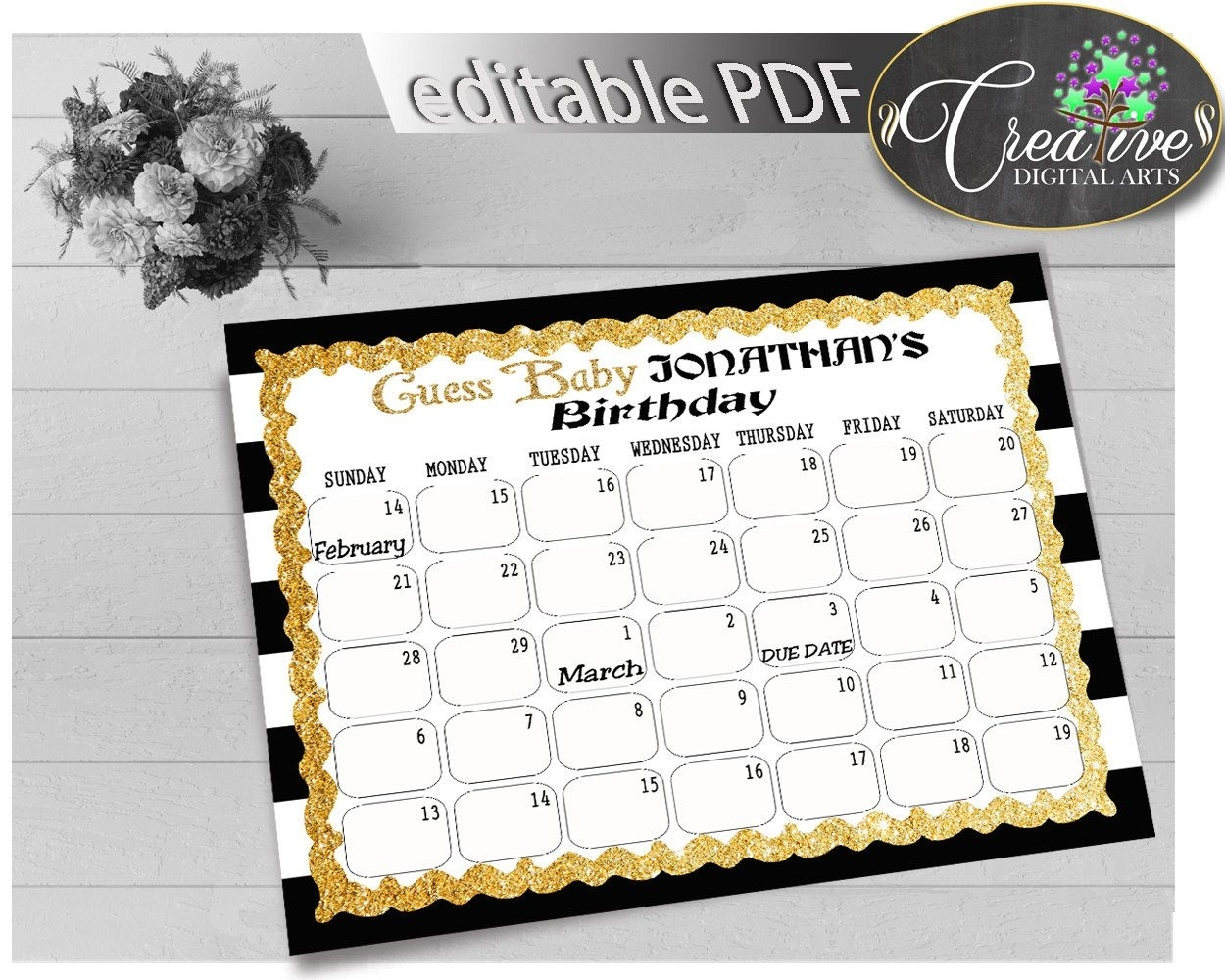 Black Gold Guess Baby Due Date Calendar Game Printable