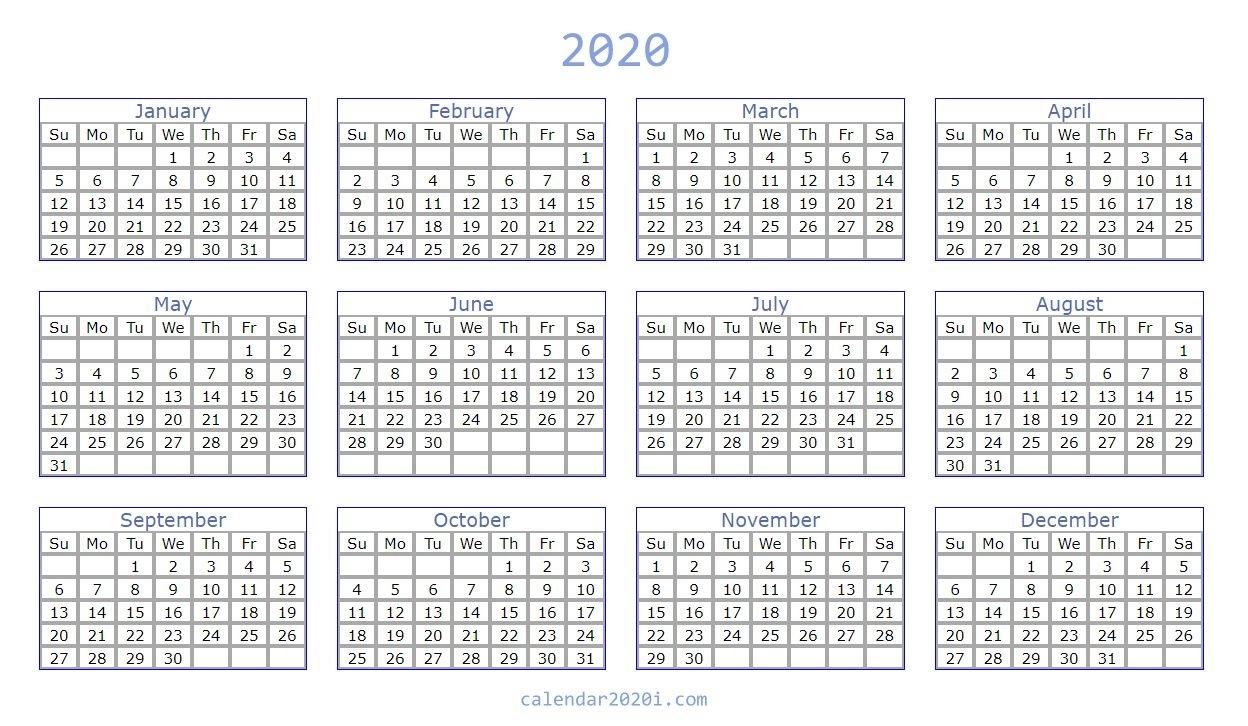 Blank 2020 Calendar Printable Templates   Calendar 2020