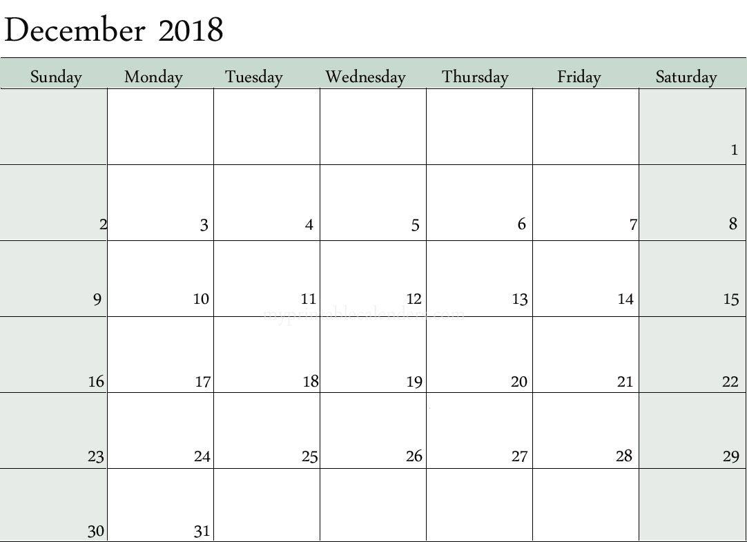 Blank Calendar December 2018 Printable Templates | Printable