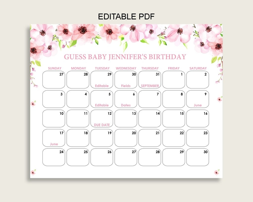 Blush Pink Due Date Baby Shower Game Guess The Due Date Baby